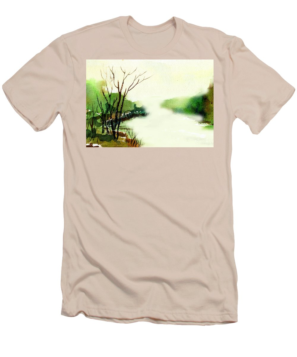Water Color Men's T-Shirt (Athletic Fit) featuring the painting Fog1 by Anil Nene