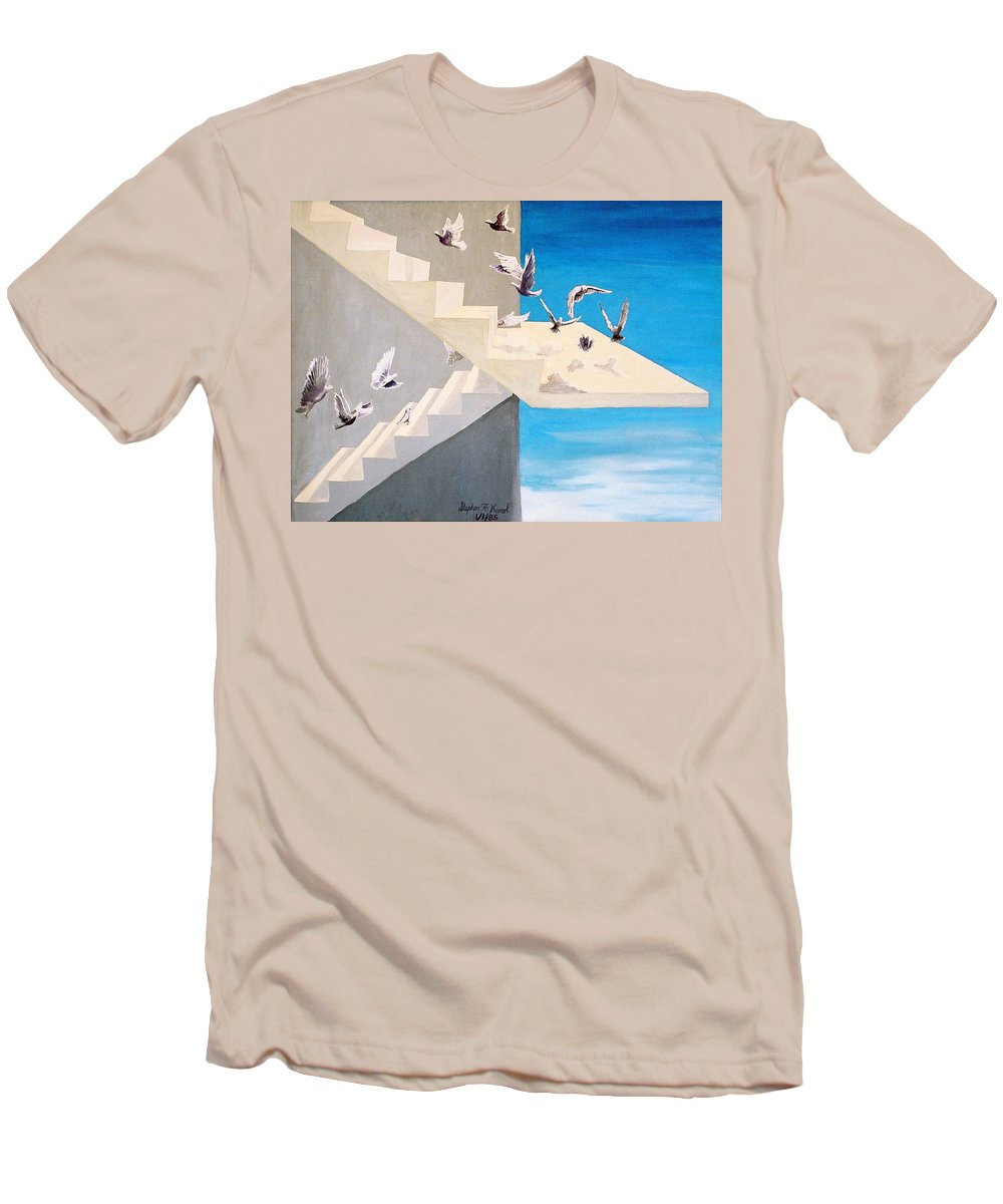 Birds Men's T-Shirt (Athletic Fit) featuring the painting Form Without Function by Steve Karol