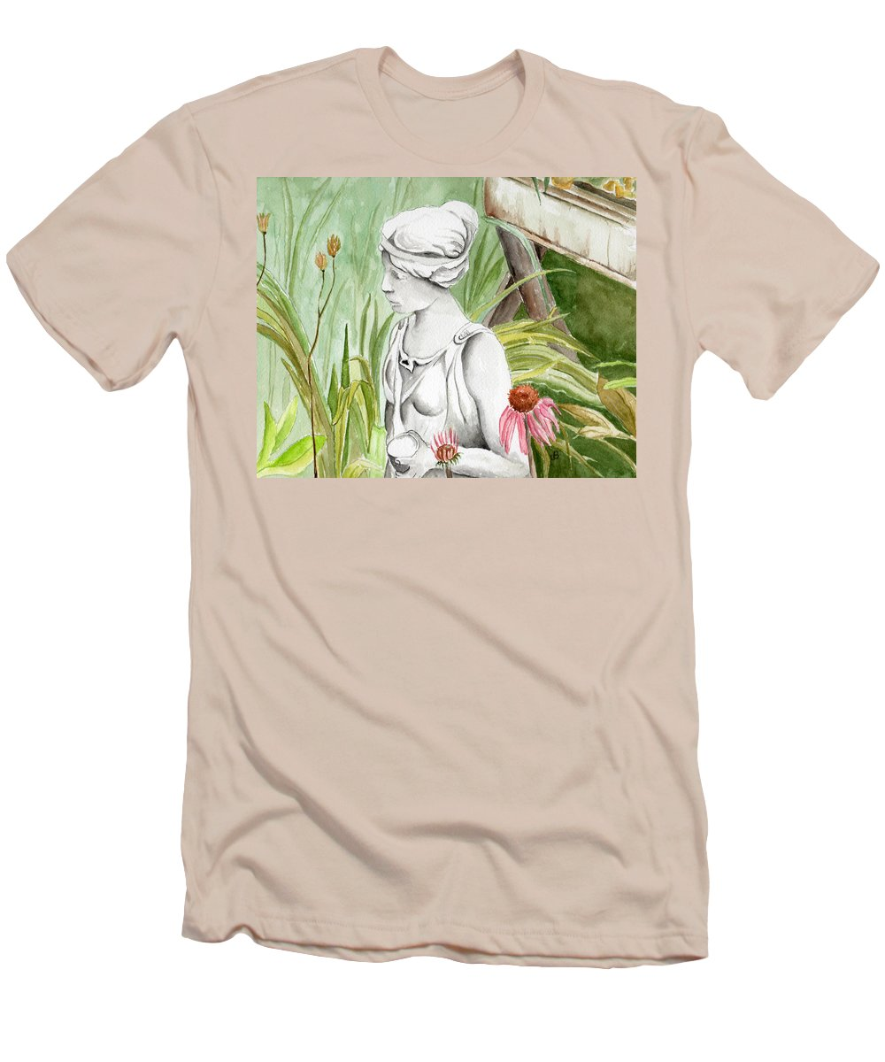 Watercolor Scenery Color Rural Garden Statue Woman Gardening Plants Flower Green Men's T-Shirt (Athletic Fit) featuring the painting Garden Beauty by Brenda Owen