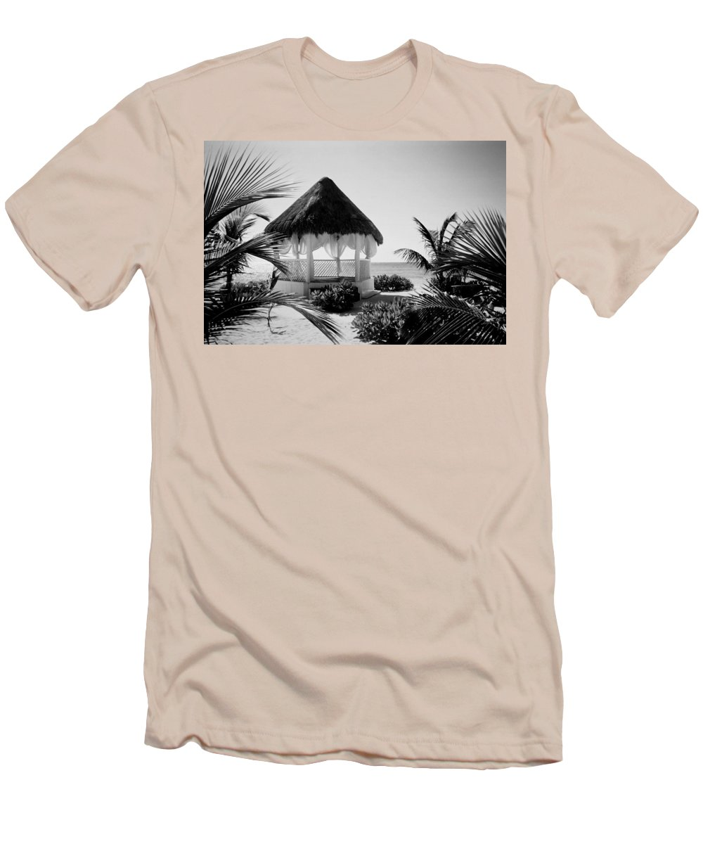 Gazebo Men's T-Shirt (Athletic Fit) featuring the photograph Gazebo On The Ocean by Anita Burgermeister