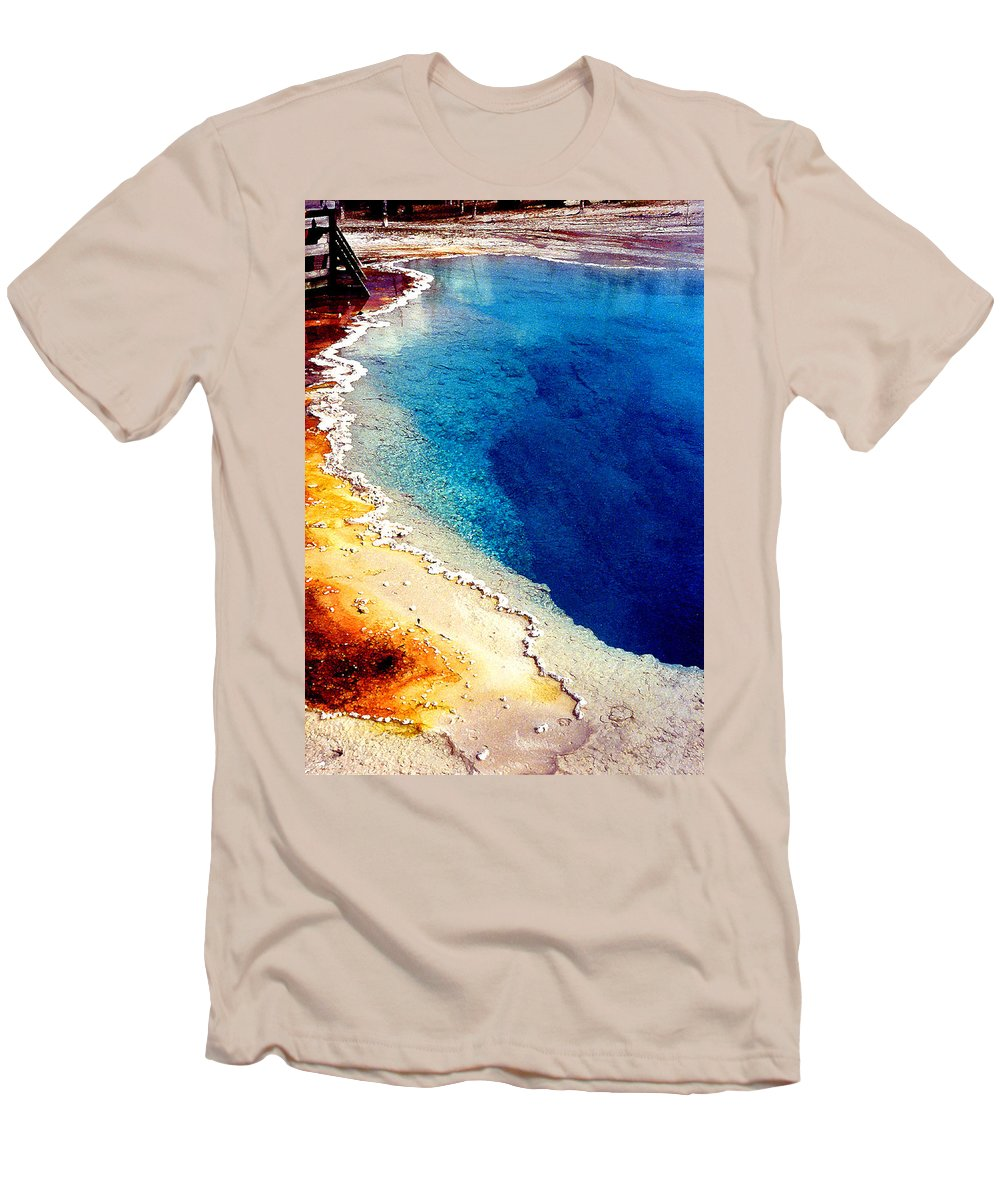 Geyser Men's T-Shirt (Athletic Fit) featuring the photograph Geyser Basin by Nancy Mueller