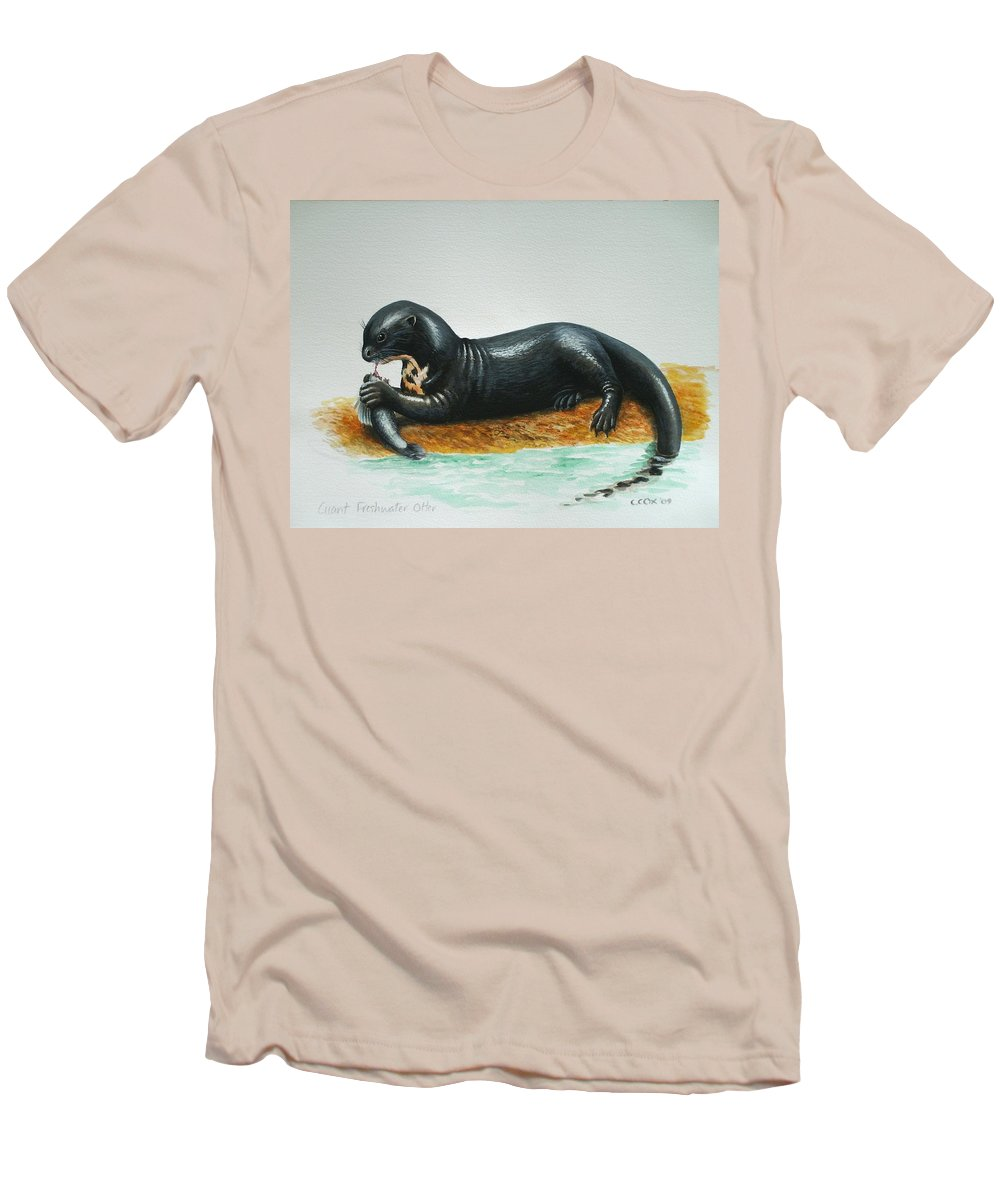 Giant River Otter Men's T-Shirt (Athletic Fit) featuring the painting Giant River Otter by Christopher Cox