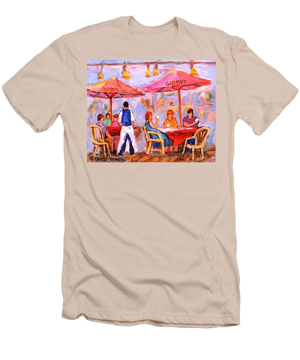 Gibbys Restaurant Montreal Street Scenes Men's T-Shirt (Athletic Fit) featuring the painting Gibbys Cafe by Carole Spandau