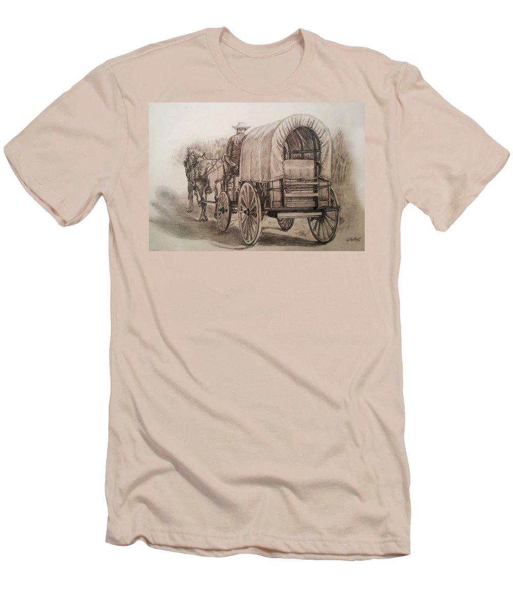 Horse Men's T-Shirt (Athletic Fit) featuring the drawing Going Shopping by Sheryl Gallant
