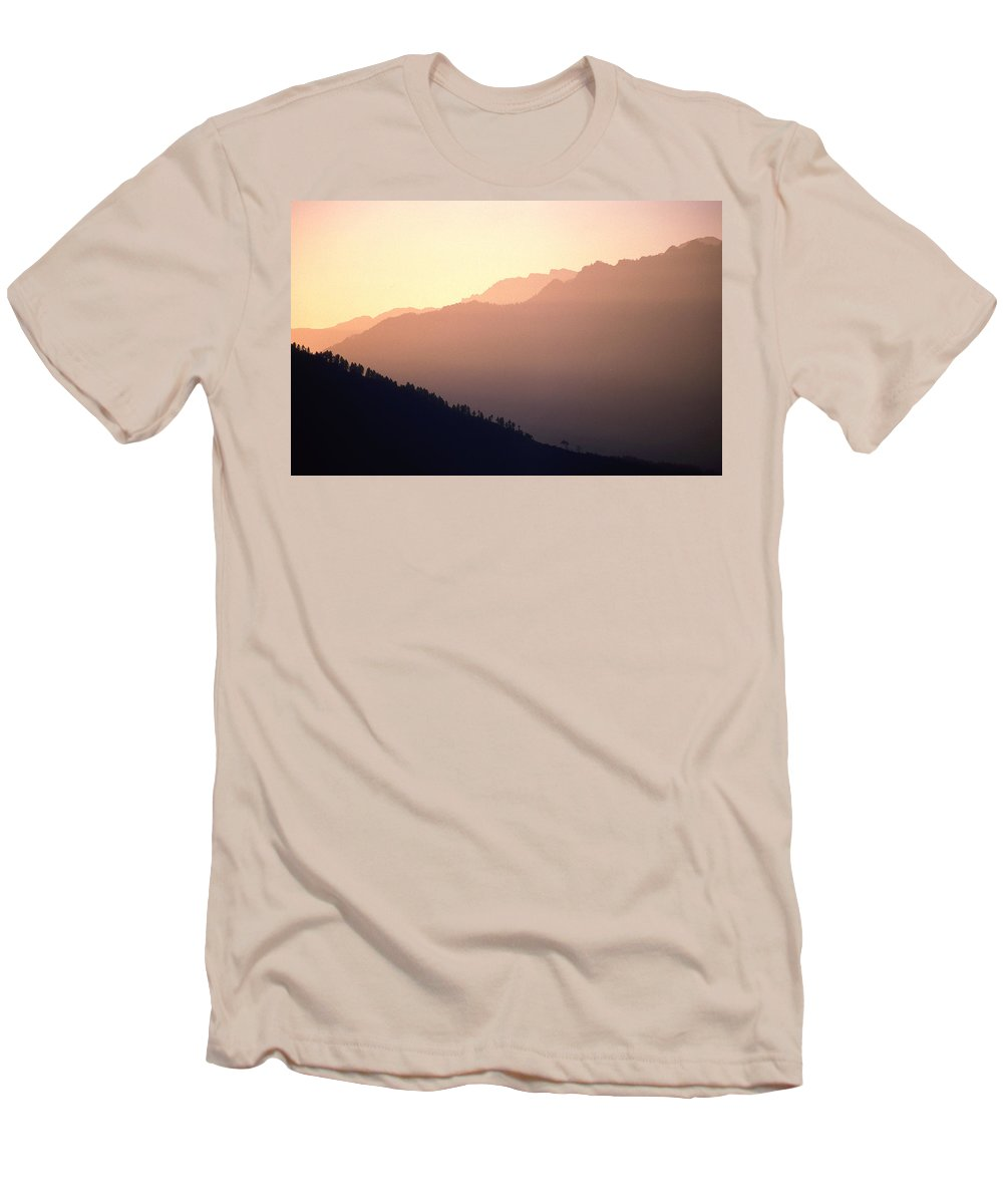 Langtang Men's T-Shirt (Athletic Fit) featuring the photograph Golden Mountains by Patrick Klauss