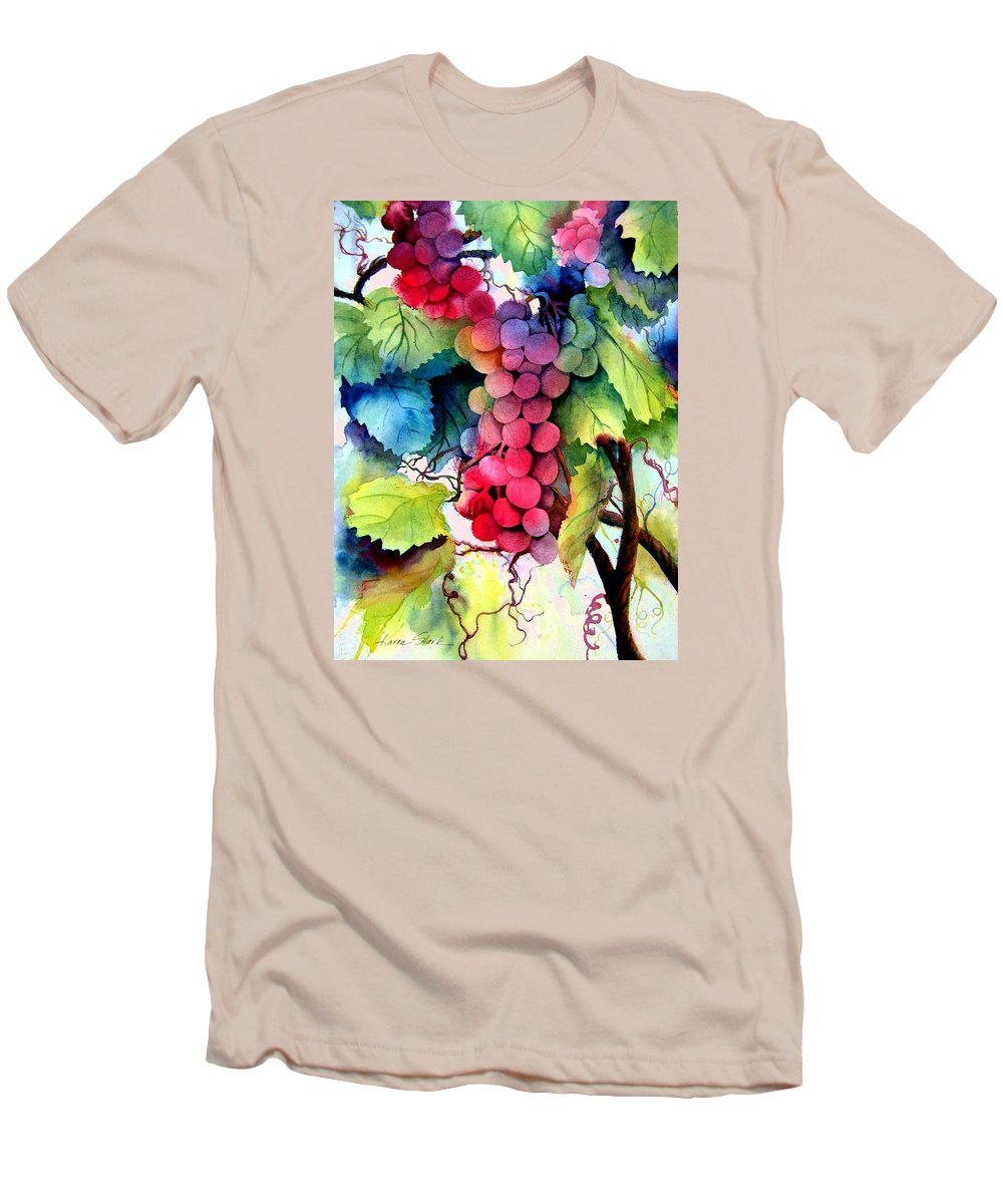 Grapes Men's T-Shirt (Athletic Fit) featuring the painting Grapes by Karen Stark