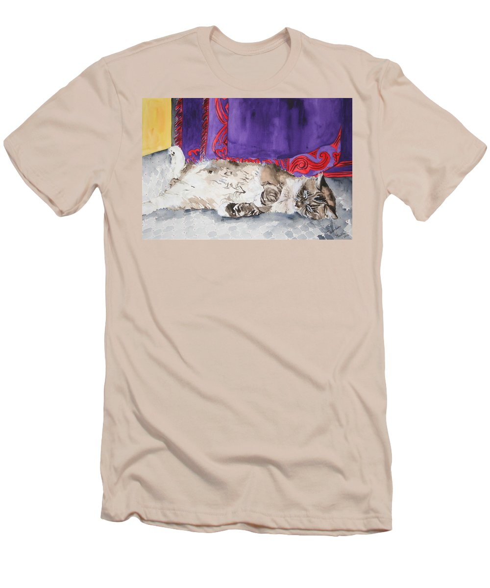 Cat Men's T-Shirt (Athletic Fit) featuring the painting Guilley by Jean Blackmer