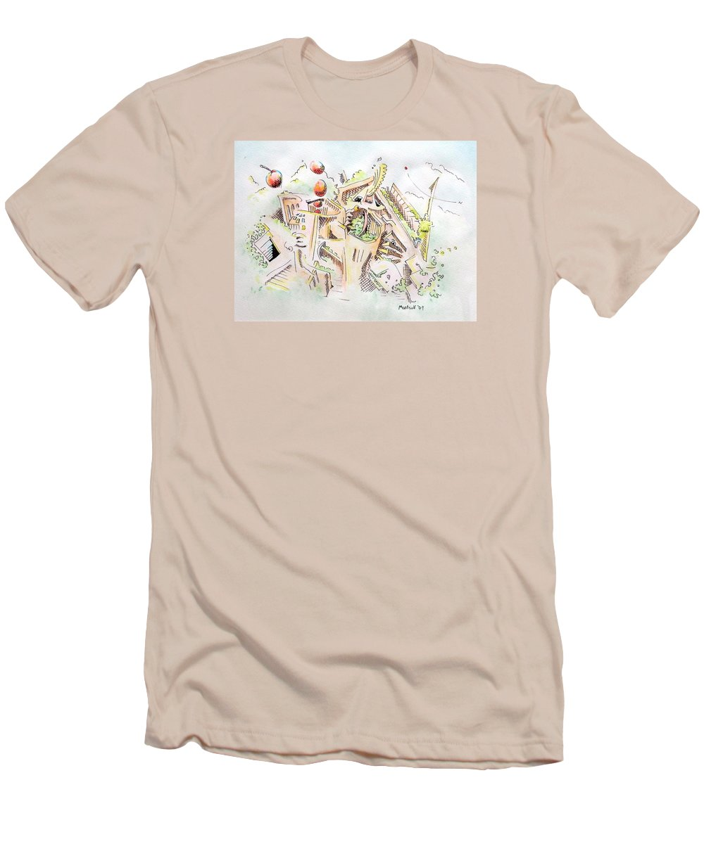 City Men's T-Shirt (Athletic Fit) featuring the painting Habitat by Dave Martsolf