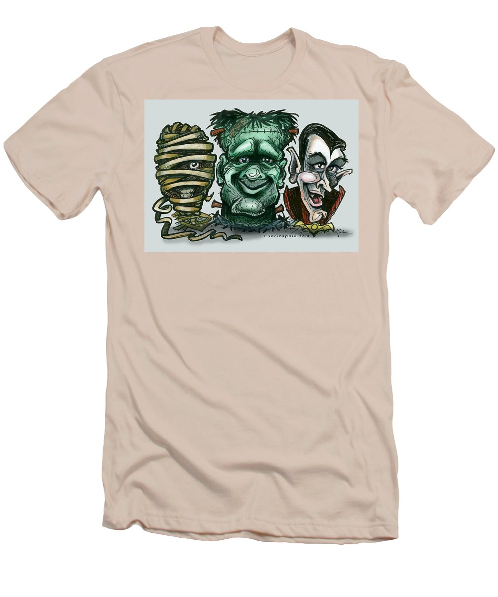 Halloween Men's T-Shirt (Athletic Fit) featuring the greeting card Halloween Monsters by Kevin Middleton