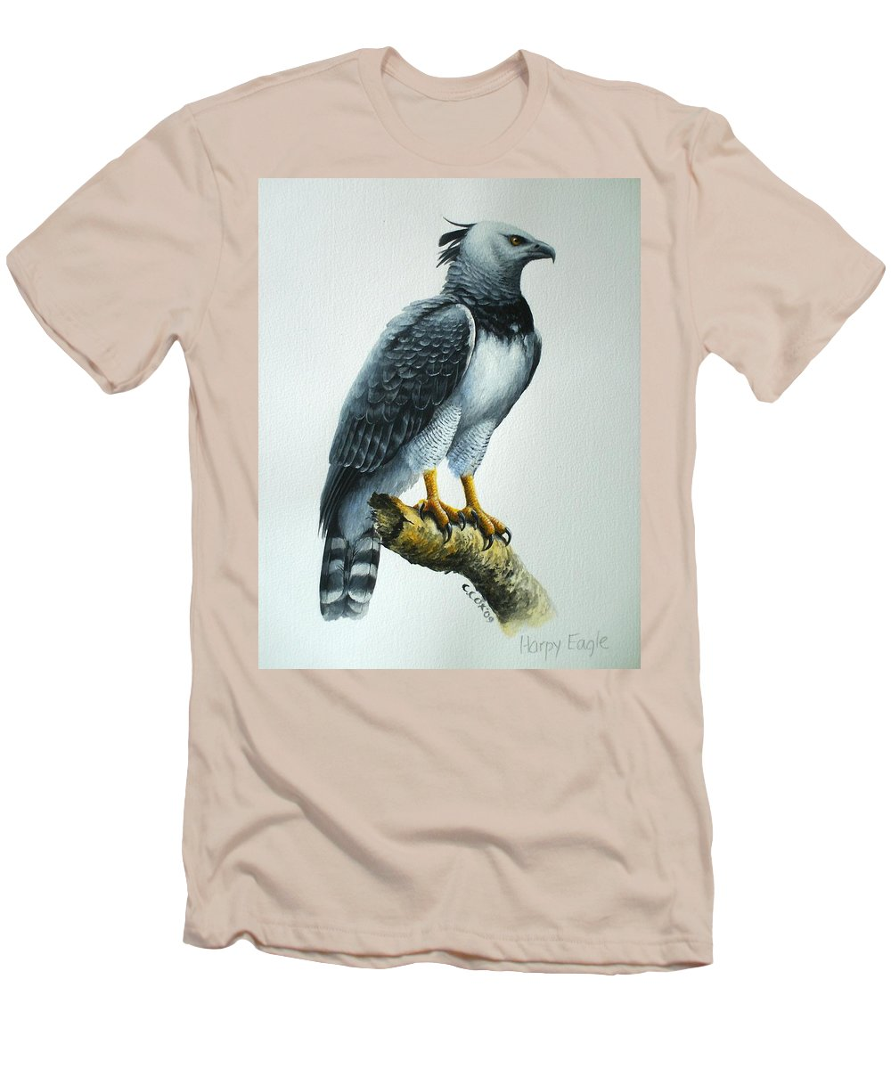 Harpy Eagle Men's T-Shirt (Athletic Fit) featuring the painting Harpy Eagle by Christopher Cox