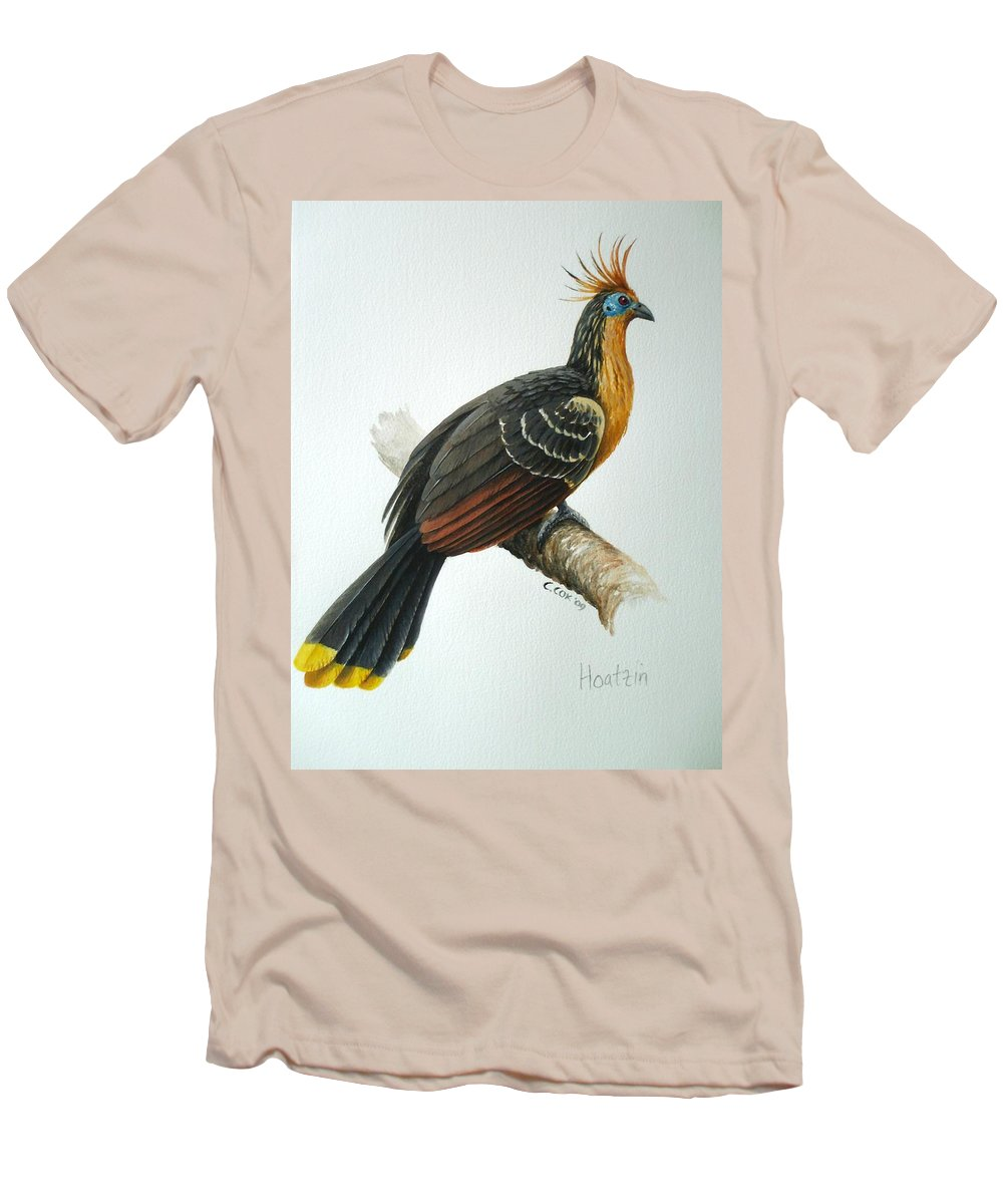 Hoatzin Men's T-Shirt (Athletic Fit) featuring the painting Hoatzin by Christopher Cox