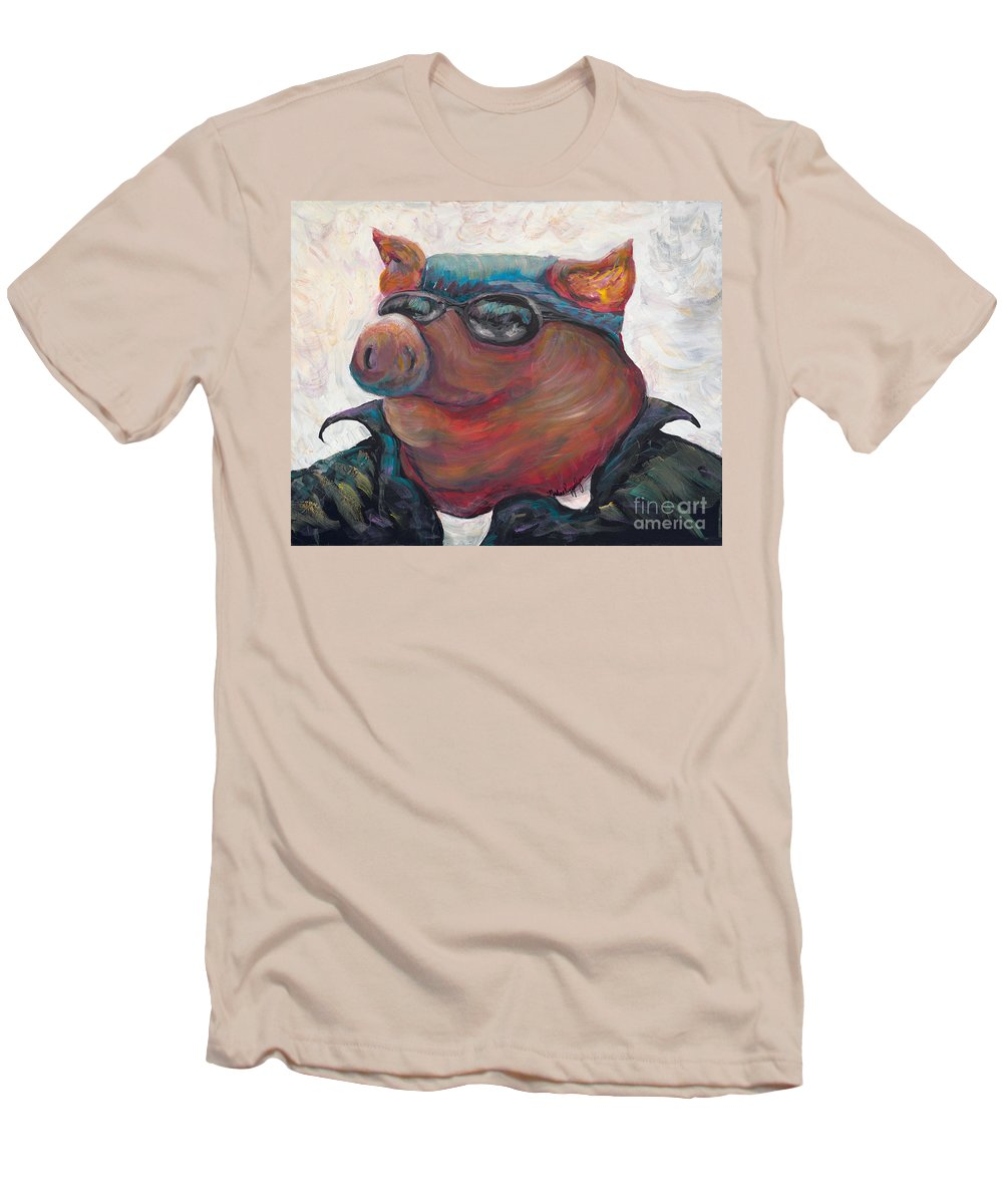 Hog Men's T-Shirt (Athletic Fit) featuring the painting Hogley Davidson by Nadine Rippelmeyer