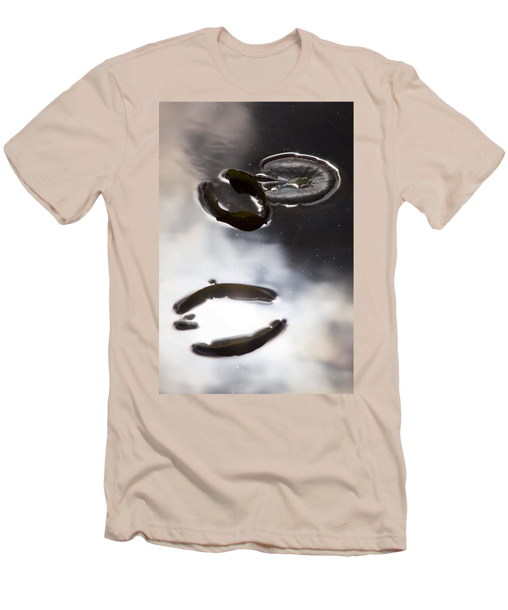 Water Pond Lake Leaf Leaves Reflection Nature Outdoors Drop Bright Cloud Men's T-Shirt (Athletic Fit) featuring the photograph Holding The Sun by Andrei Shliakhau