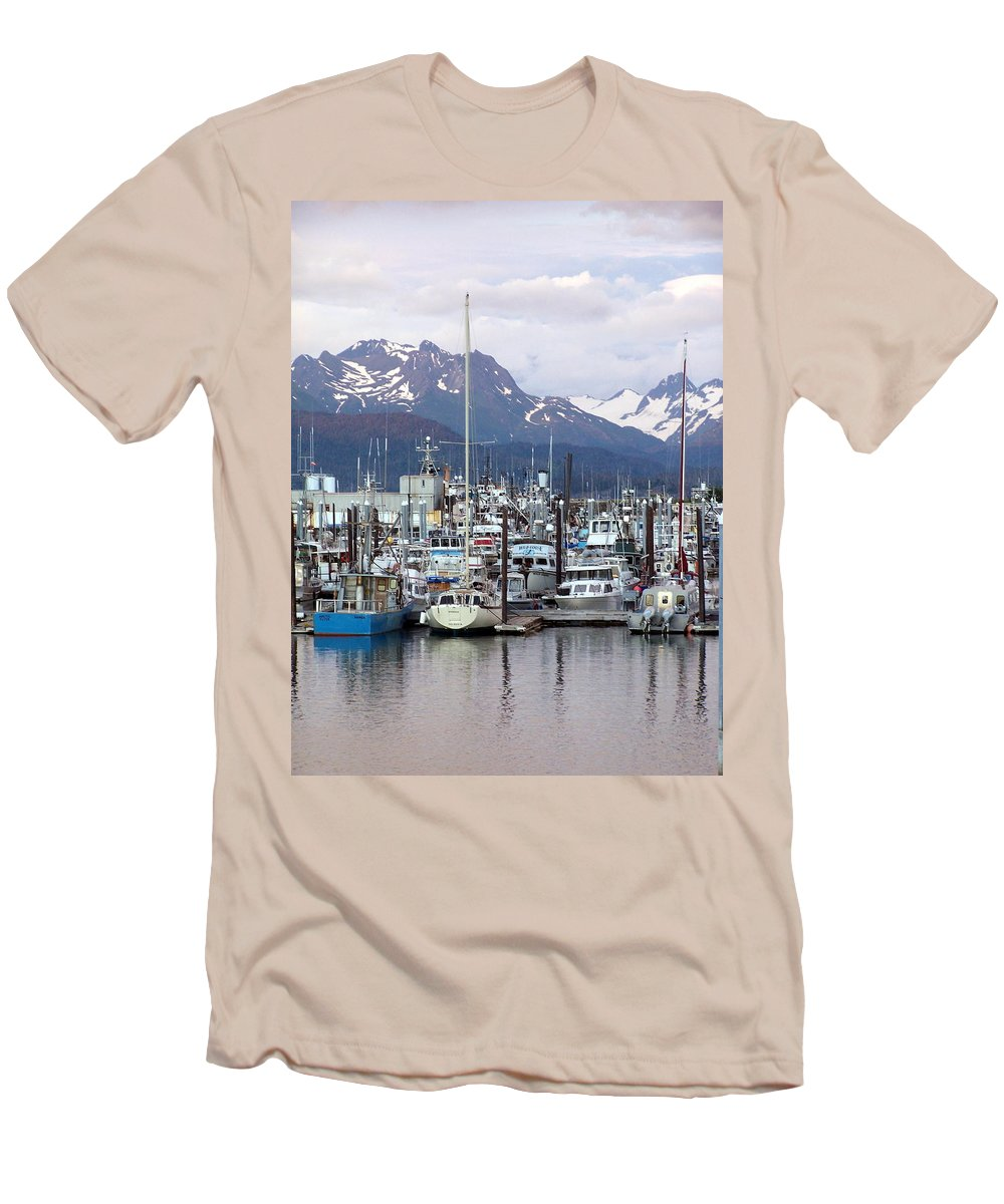 Homer Alaska Men's T-Shirt (Athletic Fit) featuring the photograph Homer Harbor by Marty Koch