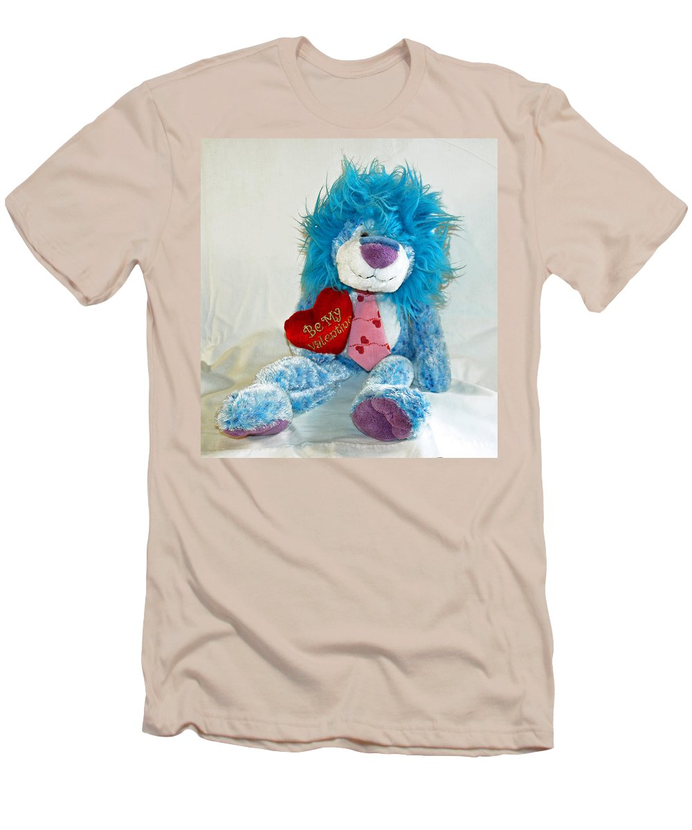 Love; Hope; Hoping; Man; Male; Lion; Blue; Stuffed; Animal; Heart; Valentine; Hopeful; Lover; Suitor Men's T-Shirt (Athletic Fit) featuring the photograph Hoping For Love by Allan Hughes