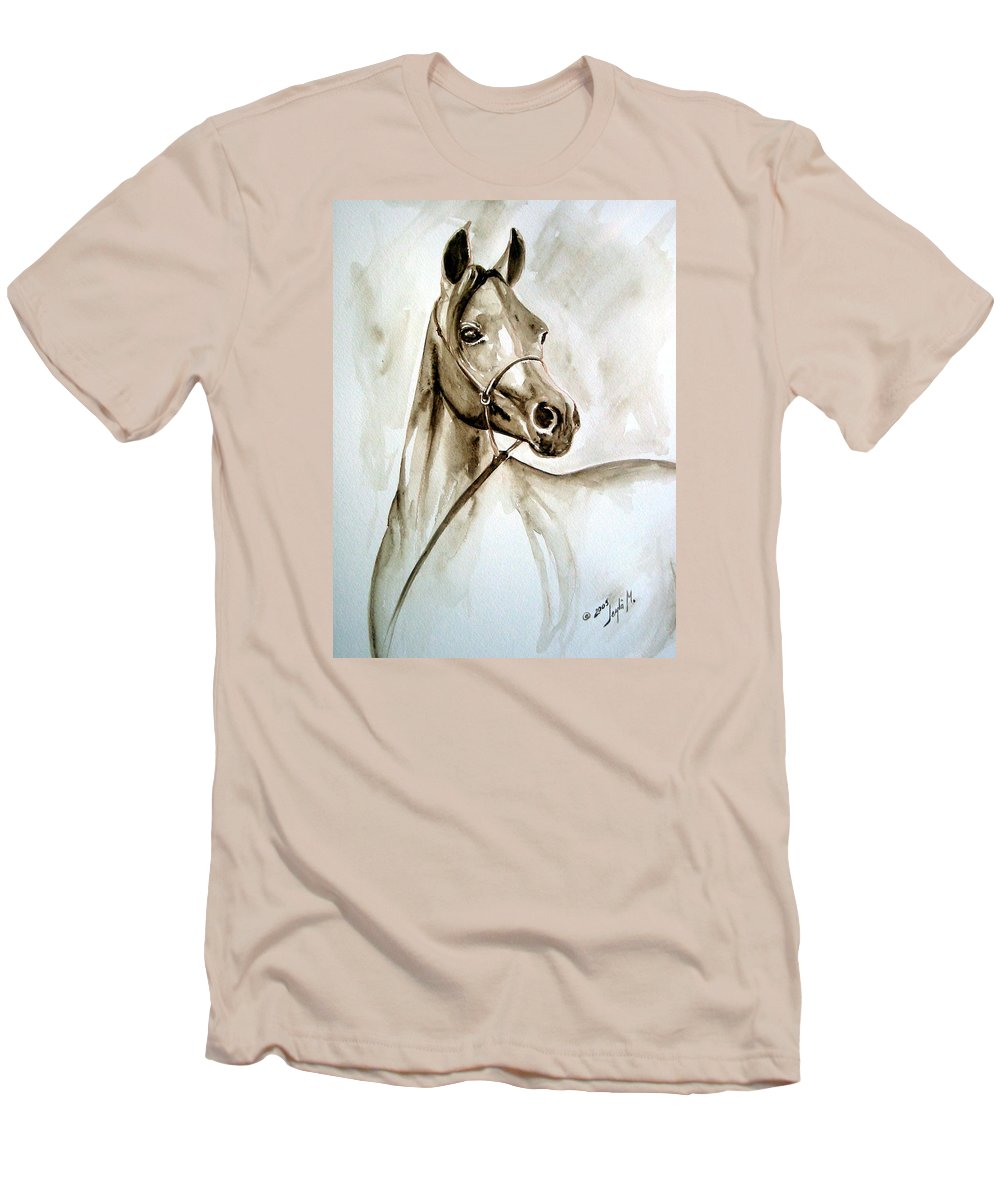 Portrait Of A Horse Men's T-Shirt (Athletic Fit) featuring the painting Horse by Leyla Munteanu