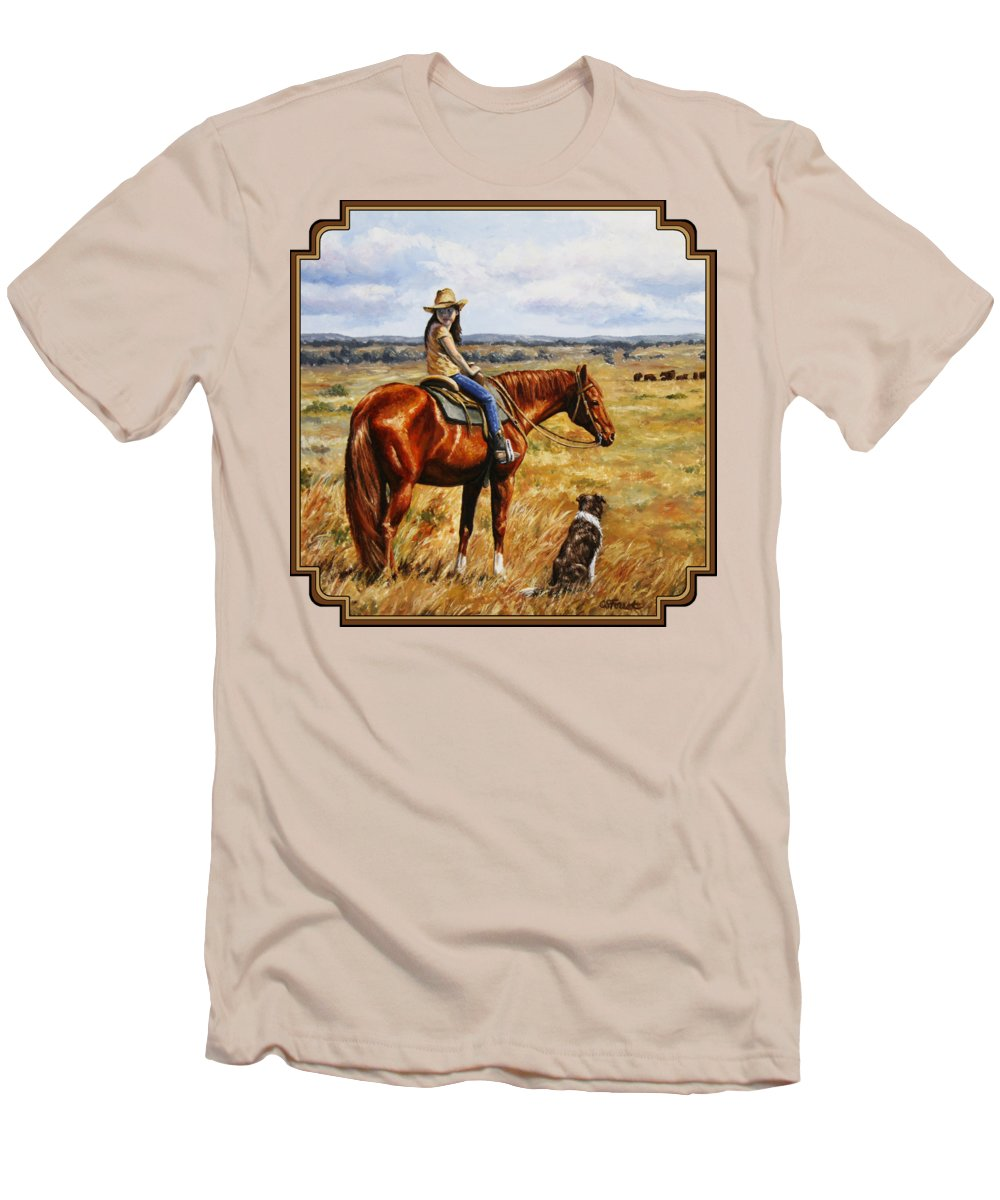 Western Men's T-Shirt (Athletic Fit) featuring the painting Horse Painting - Waiting For Dad by Crista Forest