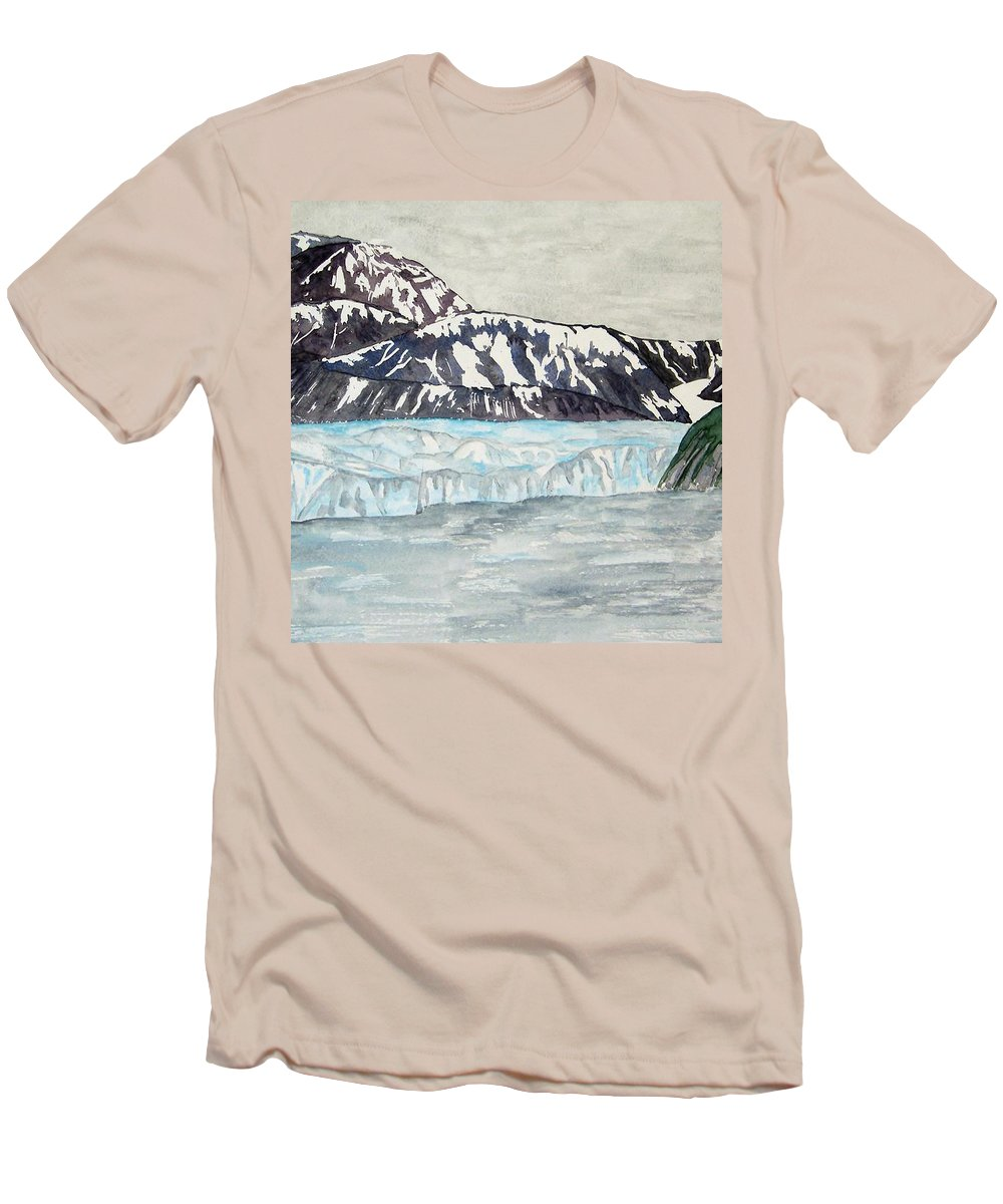 Glacier Men's T-Shirt (Athletic Fit) featuring the painting Hubbard Glacier In July by Larry Wright