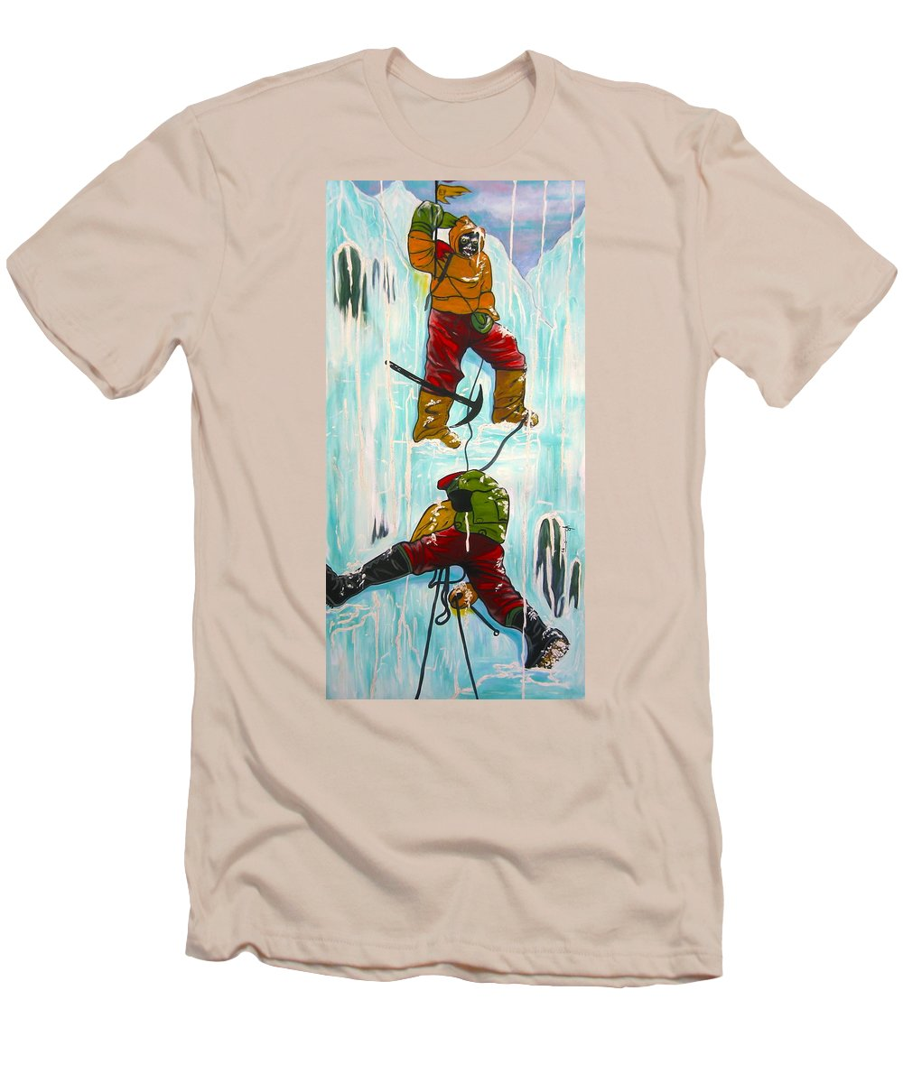 Abstract Sports Men's T-Shirt (Athletic Fit) featuring the painting Ice Climbers by V Boge