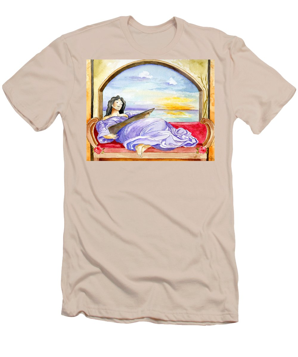 Landscape Woman Romantic Figure Window Sea Sky Men's T-Shirt (Athletic Fit) featuring the painting In Paradisum by Brenda Owen