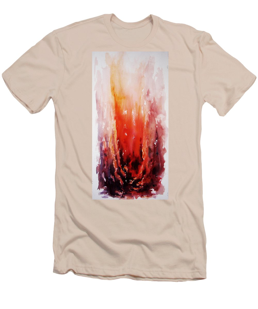 Landscape Men's T-Shirt (Athletic Fit) featuring the painting Inferno by Rachel Christine Nowicki