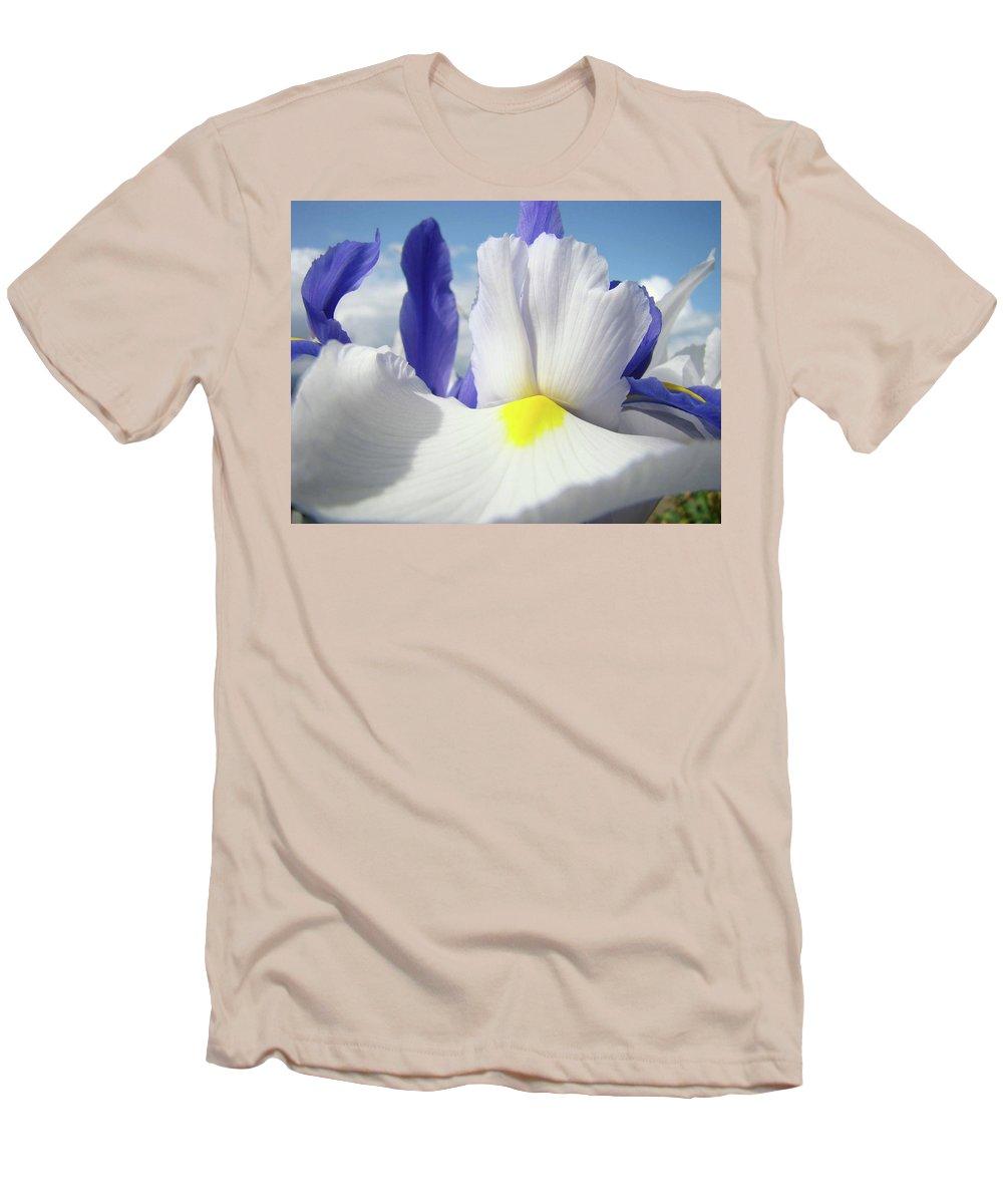 �irises Artwork� Men's T-Shirt (Athletic Fit) featuring the photograph Irises White Iris Flowers 15 Purple Irises Art Prints Floral Artwork by Baslee Troutman