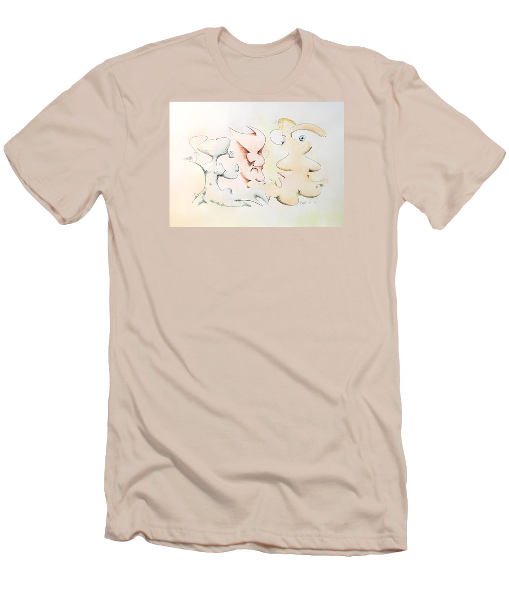 Watercolor Men's T-Shirt (Athletic Fit) featuring the painting Judging Picasso by Dave Martsolf