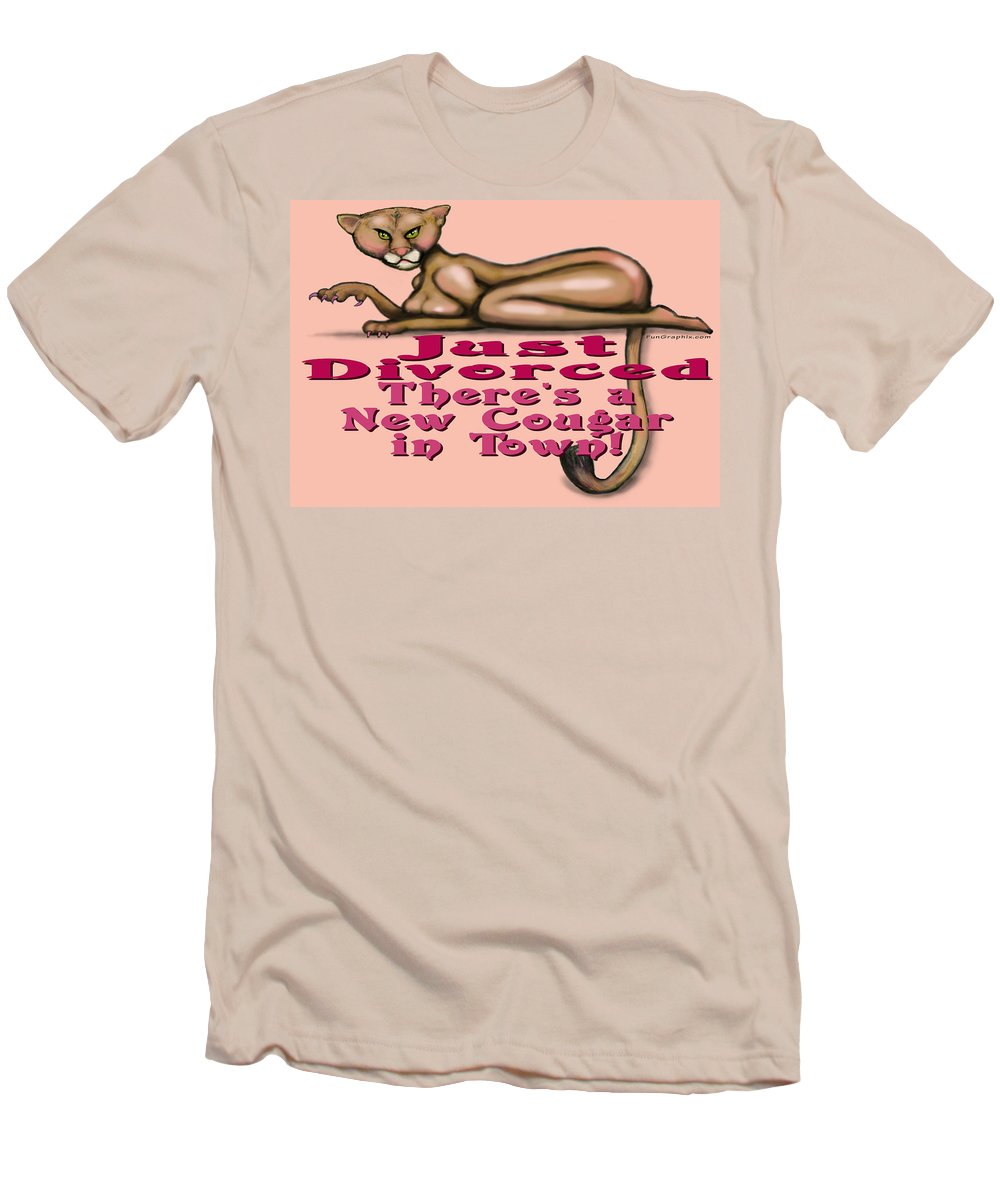 Cougar Men's T-Shirt (Athletic Fit) featuring the greeting card Just Divorced by Kevin Middleton