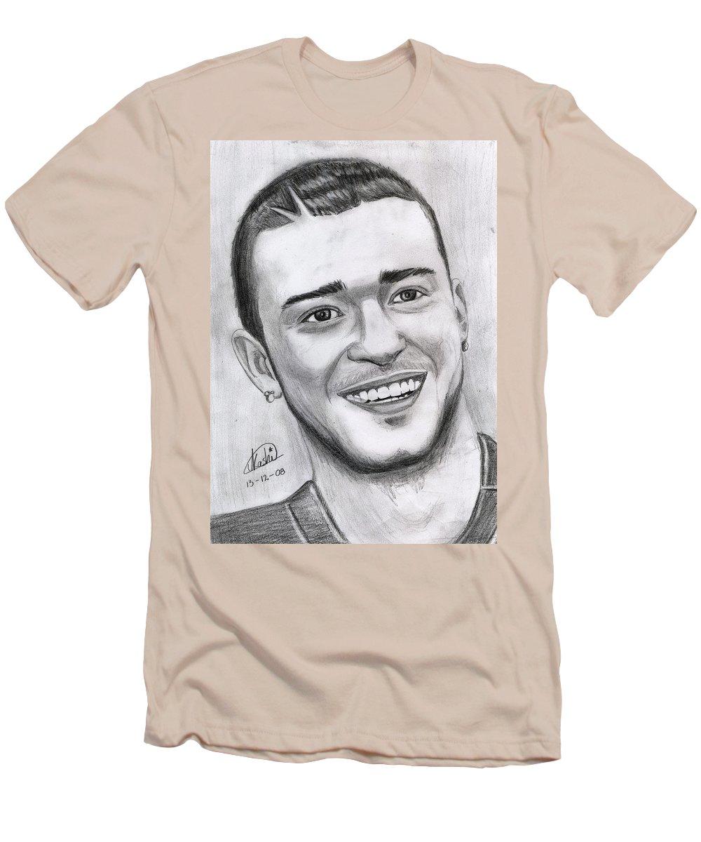 Justing Timberlake Men's T-Shirt (Athletic Fit) featuring the drawing Justing Timberlake Portrait by Alban Dizdari