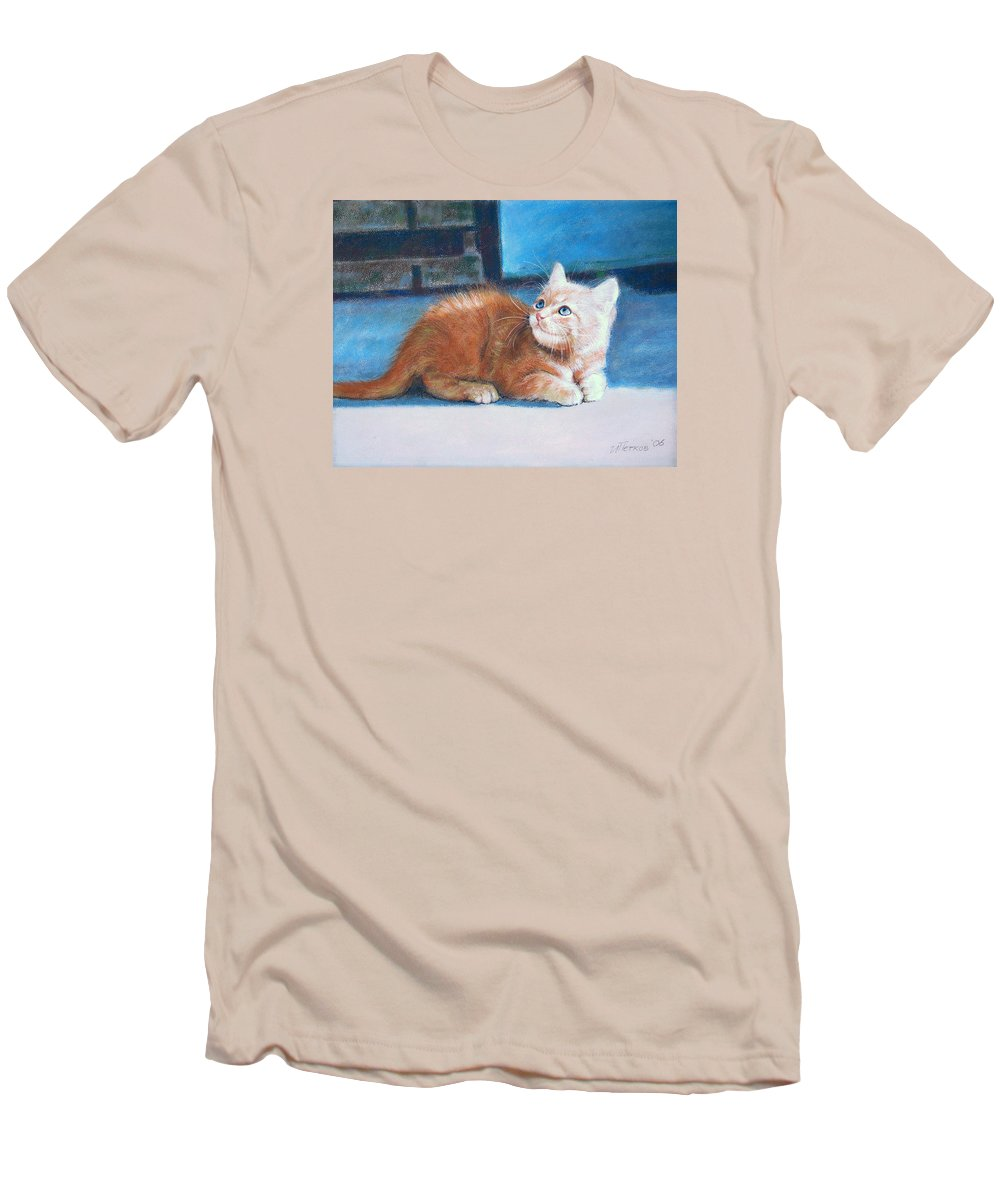 Cats Men's T-Shirt (Athletic Fit) featuring the painting Kitten by Iliyan Bozhanov