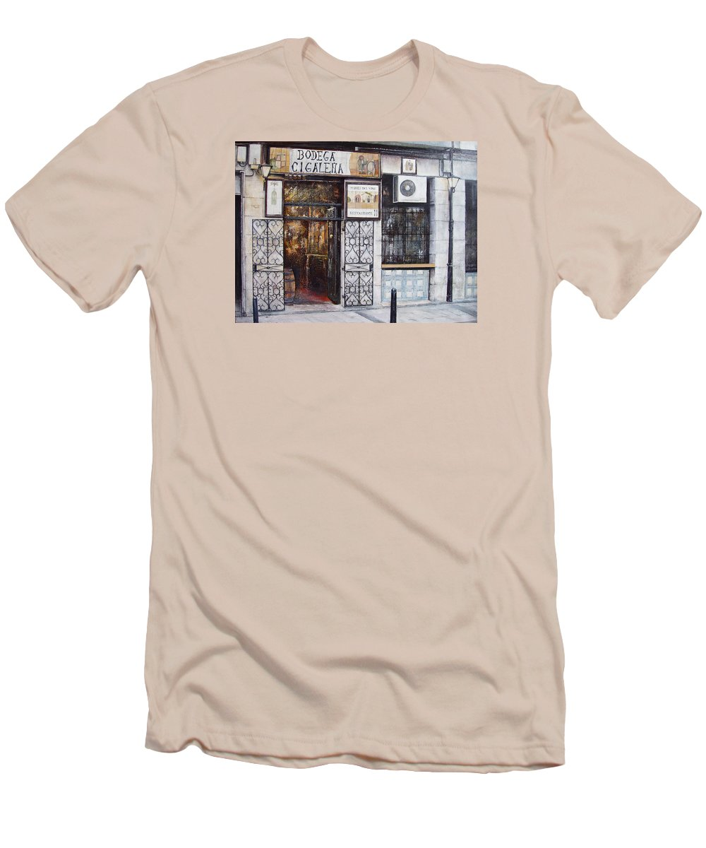 Bodega Men's T-Shirt (Athletic Fit) featuring the painting La Cigalena Old Restaurant by Tomas Castano