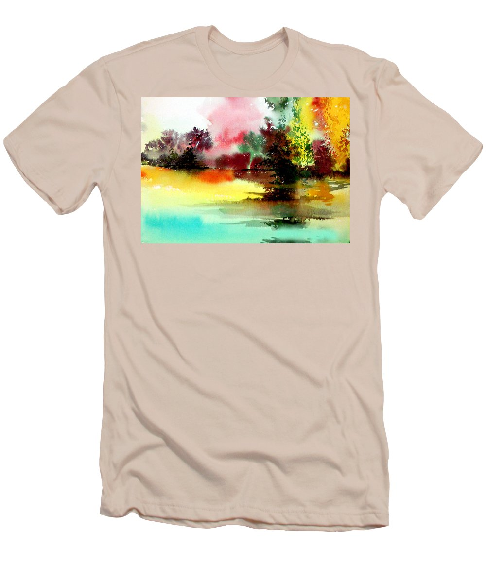 Nature Men's T-Shirt (Athletic Fit) featuring the painting Lake In Colours by Anil Nene