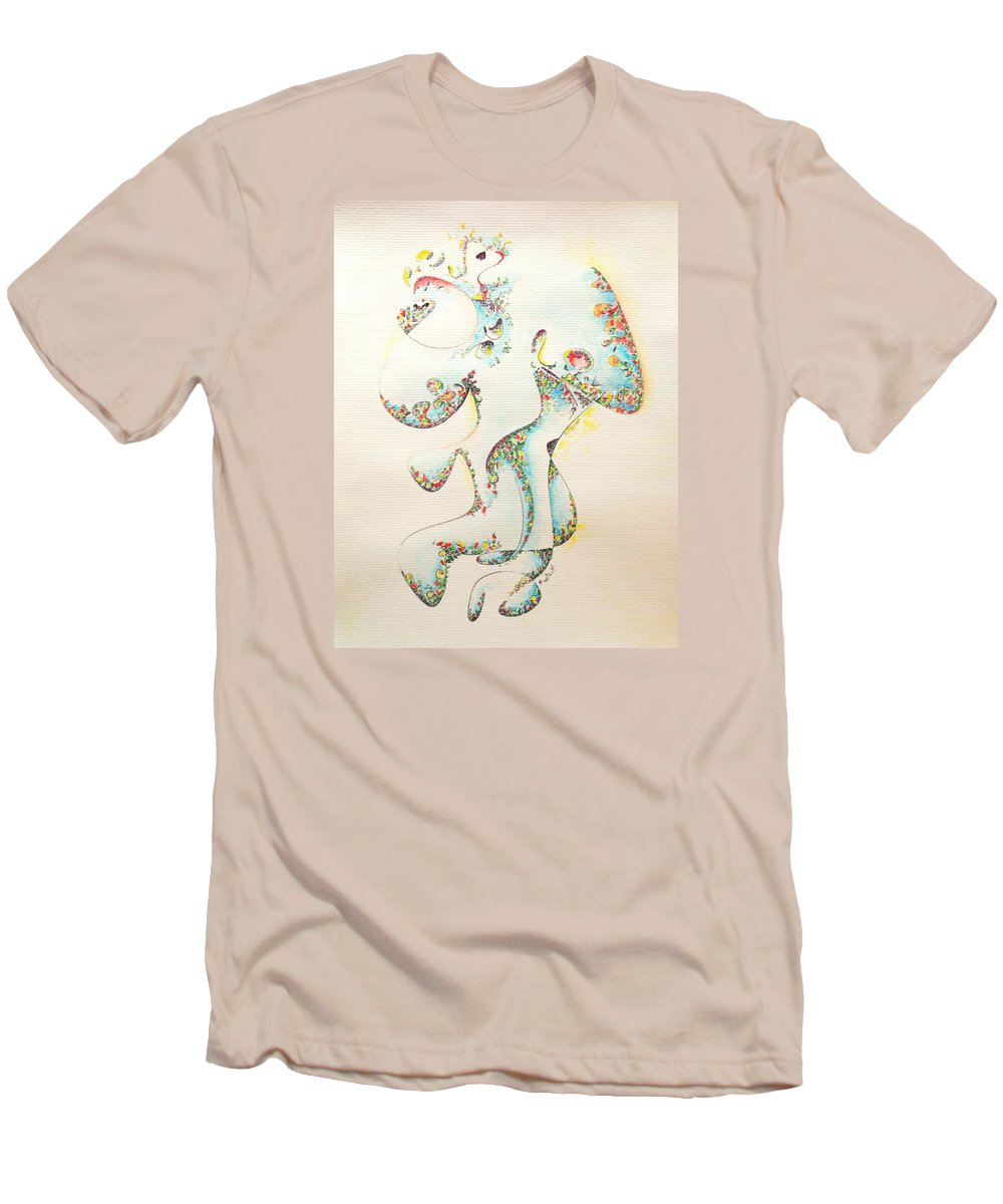 Fertility Men's T-Shirt (Athletic Fit) featuring the painting Lapis Lazuli Bejeweled Fertility Goddess by Dave Martsolf