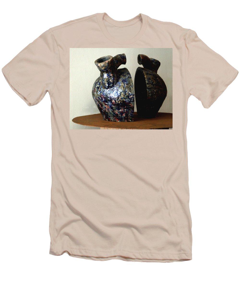 Ceramic Men's T-Shirt (Athletic Fit) featuring the sculpture Las Venas Abiertas De America Latina by Madalena Lobao-Tello