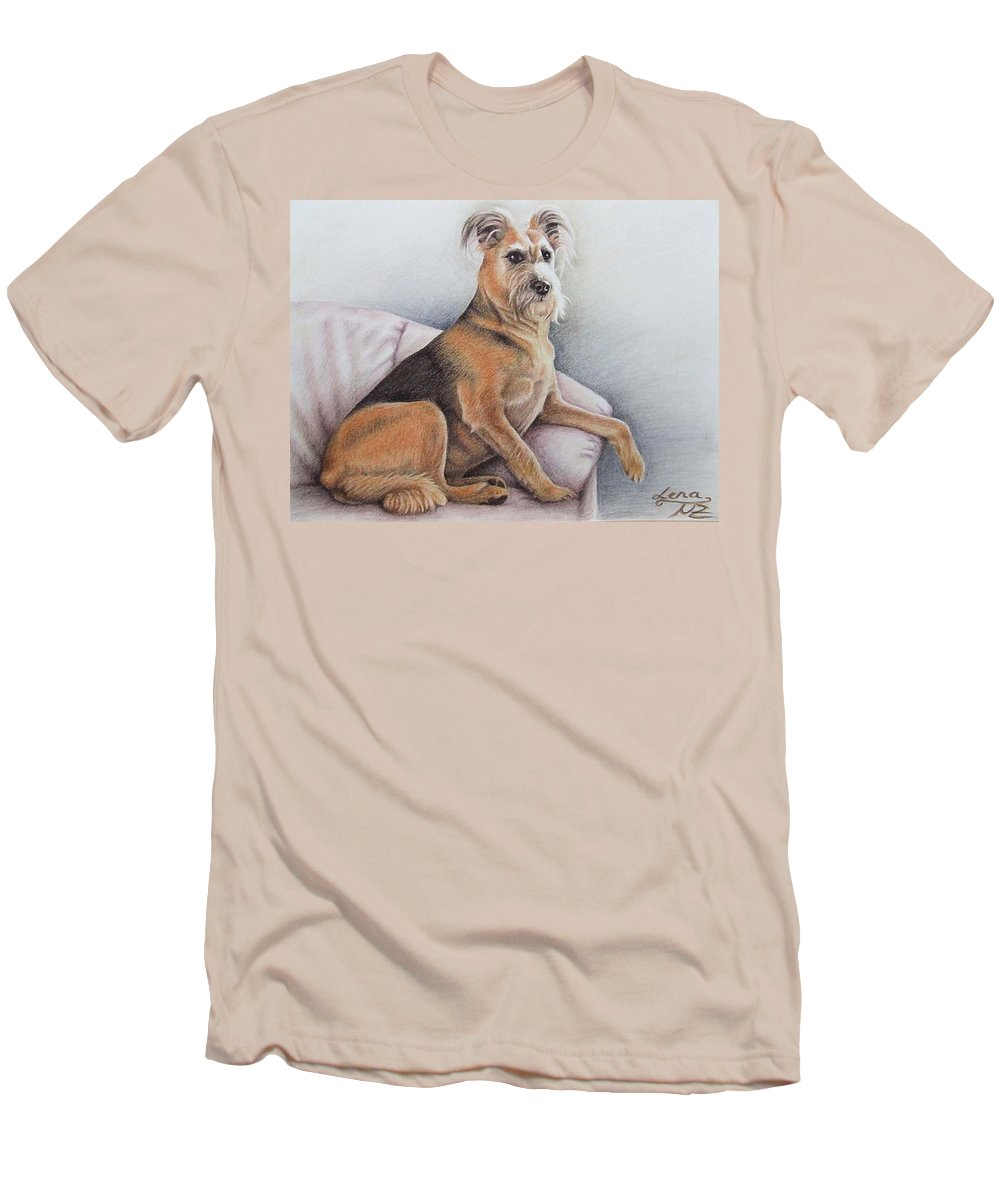 Dog Men's T-Shirt (Athletic Fit) featuring the pastel Lena by Nicole Zeug