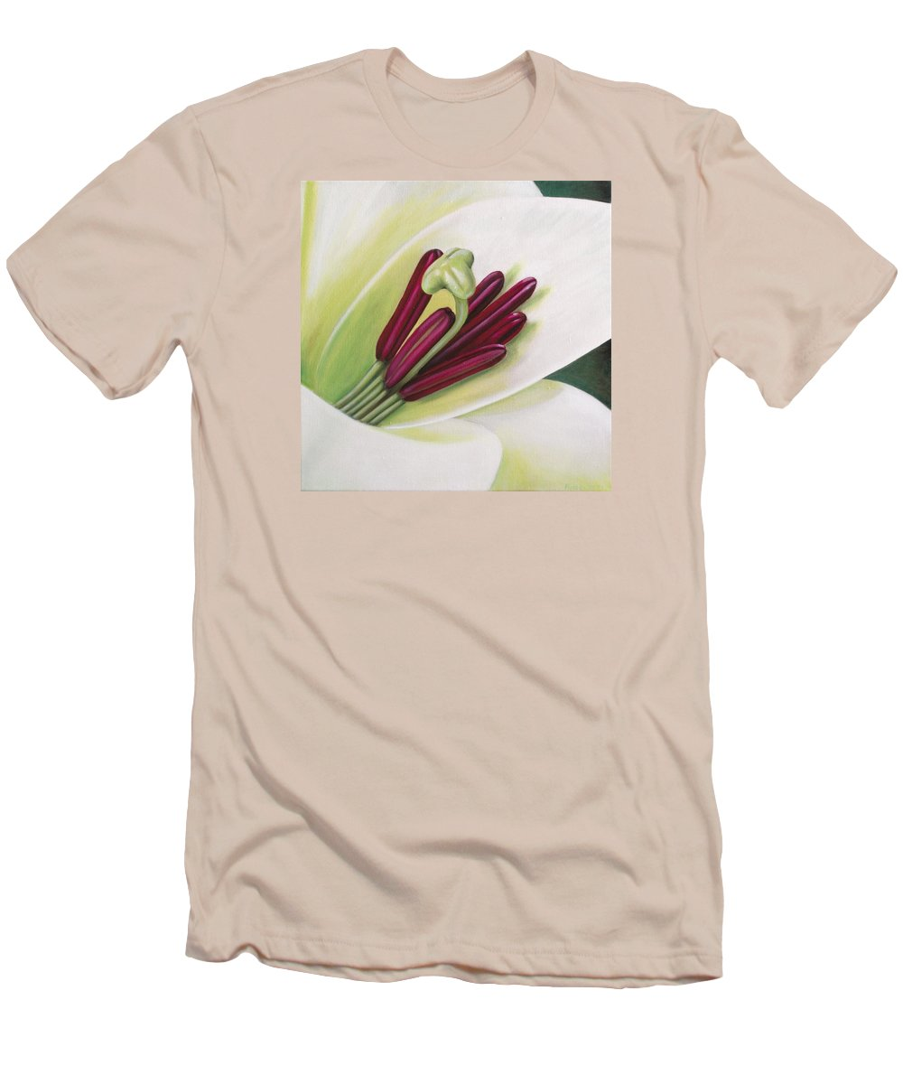 Flower Men's T-Shirt (Athletic Fit) featuring the painting Lily by Rob De Vries