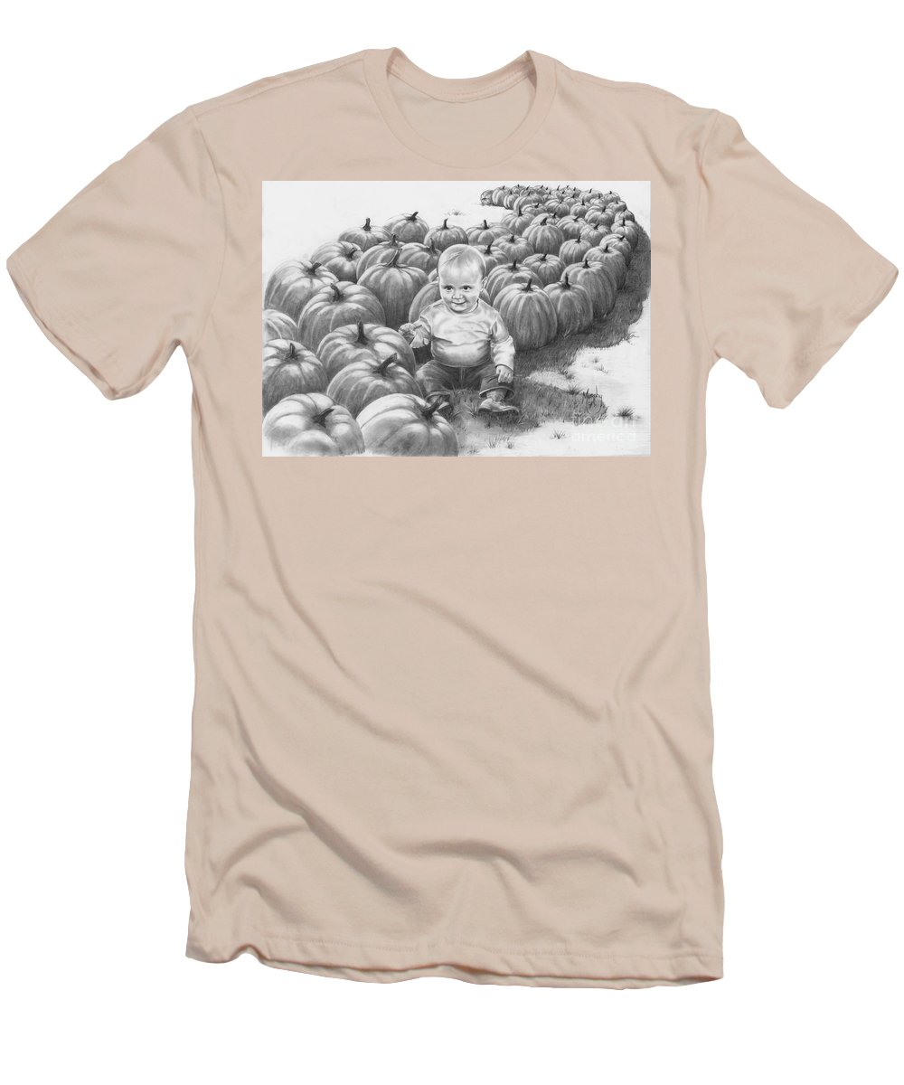 Charity Men's T-Shirt (Athletic Fit) featuring the drawing Little Pumpkin by Murphy Elliott