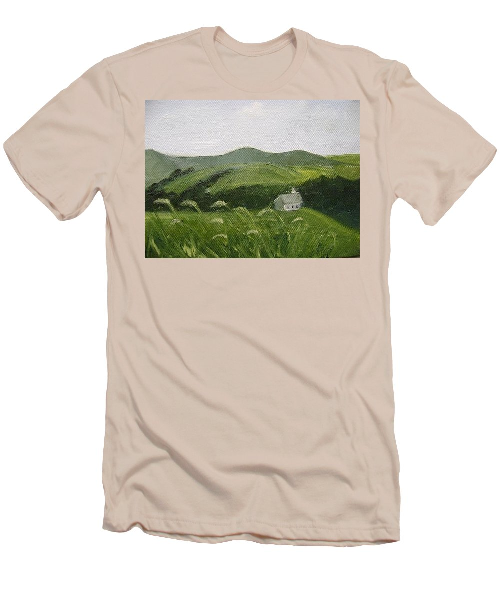 Landscape Men's T-Shirt (Athletic Fit) featuring the painting Little Schoolhouse On The Hill by Toni Berry