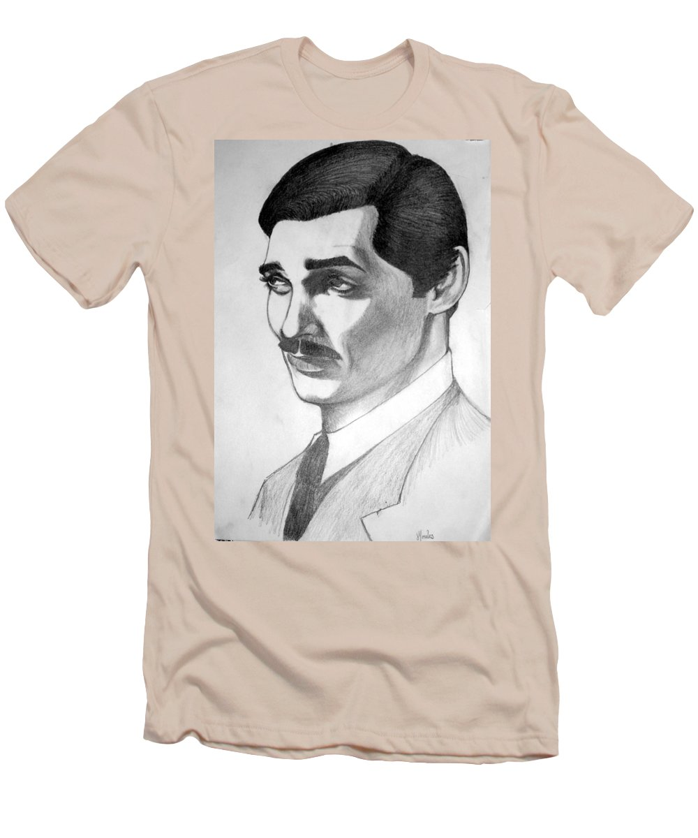 Portrait Men's T-Shirt (Athletic Fit) featuring the drawing Long Live The King by Marco Morales