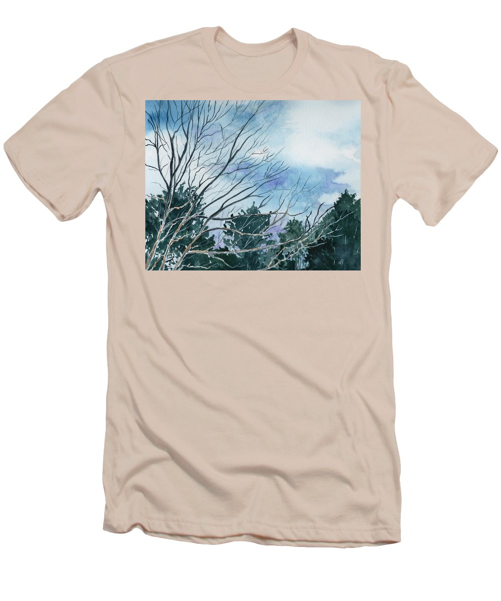 Watercolor Landscape Trees Sky Clouds Blue Men's T-Shirt (Athletic Fit) featuring the painting Look To The Sky by Brenda Owen