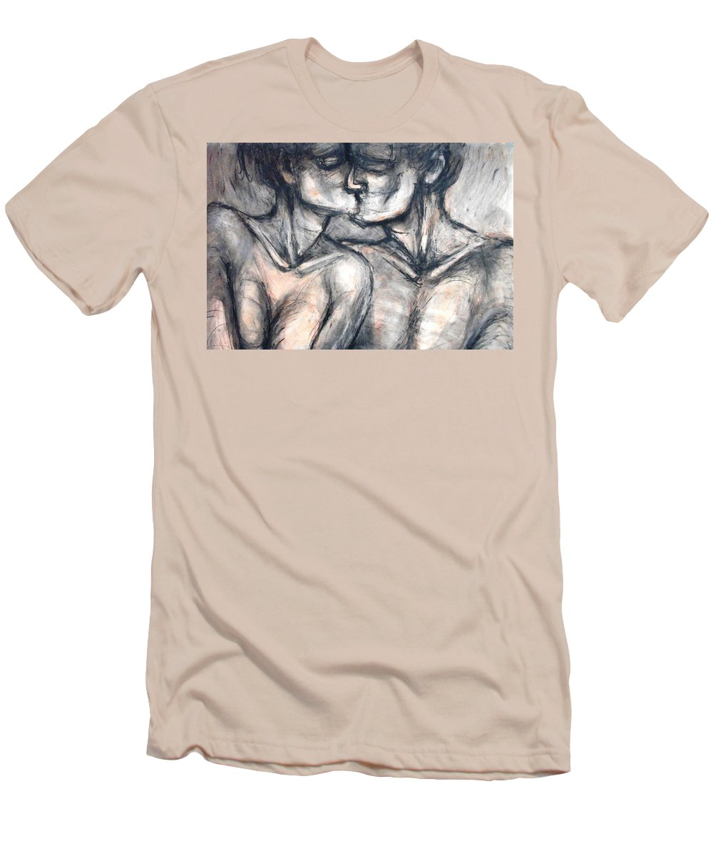 Original Men's T-Shirt (Athletic Fit) featuring the painting Lovers - Kiss by Carmen Tyrrell