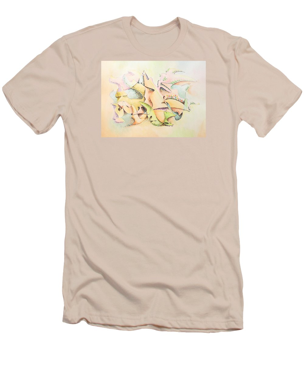 Watercolor Men's T-Shirt (Athletic Fit) featuring the painting Mask by Dave Martsolf