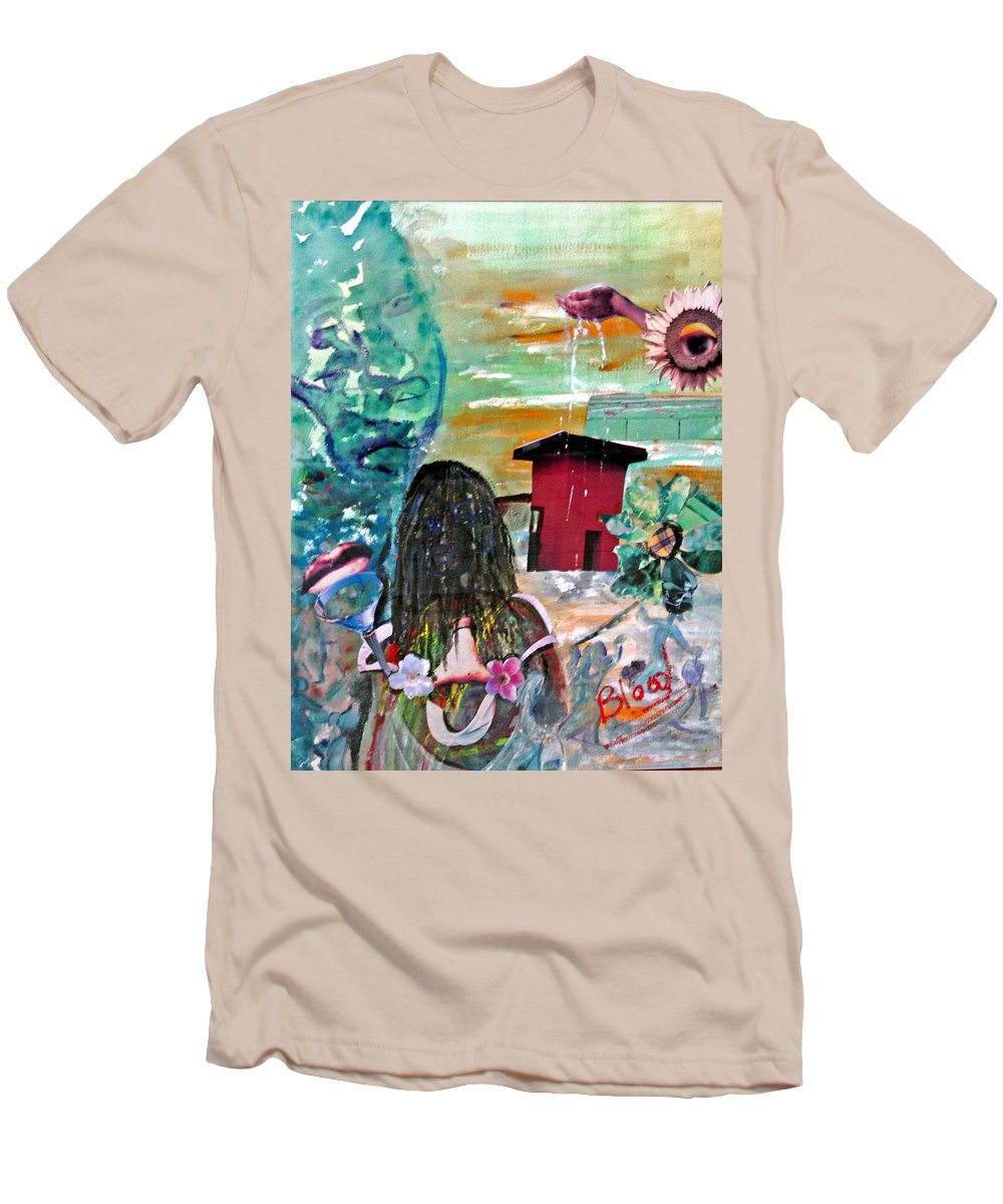 Water Men's T-Shirt (Athletic Fit) featuring the painting Masks Of Life by Peggy Blood