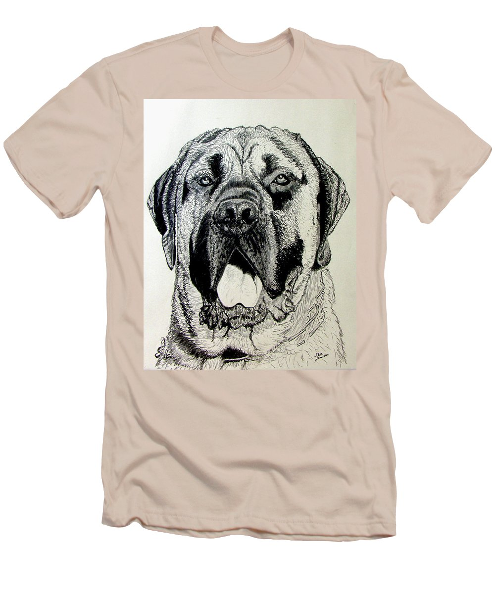 Mastiff Men's T-Shirt (Athletic Fit) featuring the drawing Mastiff by Stan Hamilton