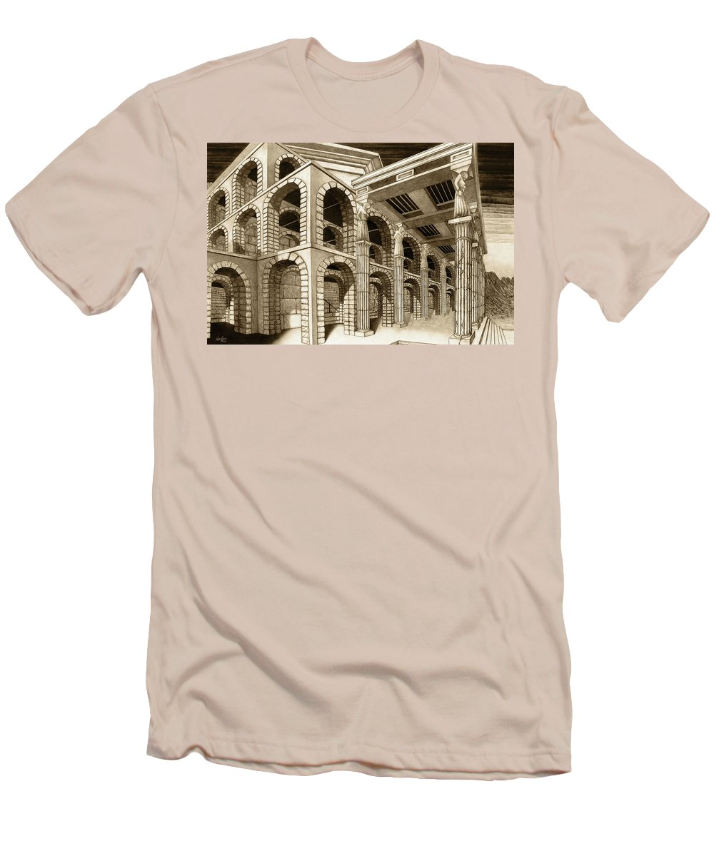 Mithlond Men's T-Shirt (Athletic Fit) featuring the drawing Mithlond Gray Havens by Curtiss Shaffer