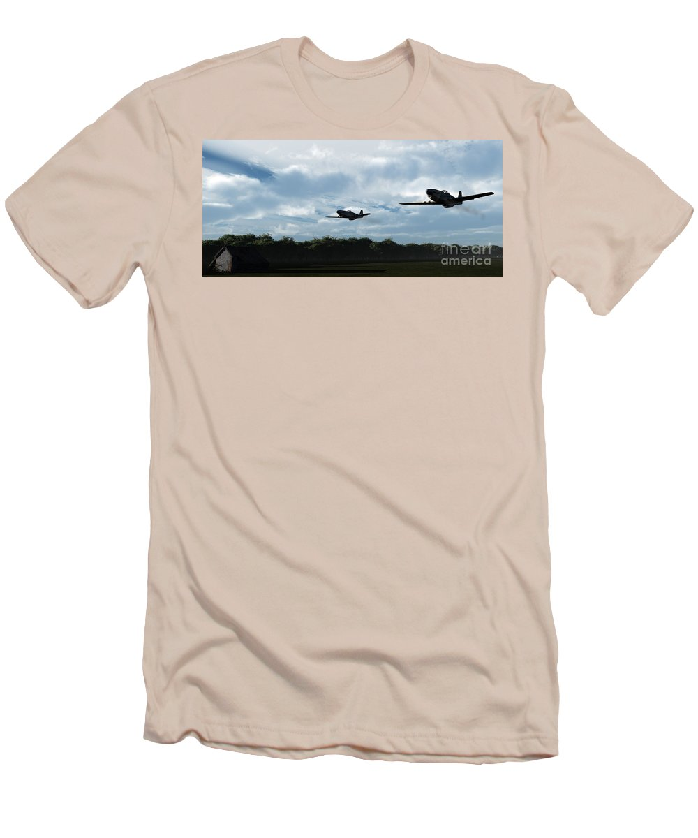 Aircraft Men's T-Shirt (Athletic Fit) featuring the digital art Morning Run by Richard Rizzo