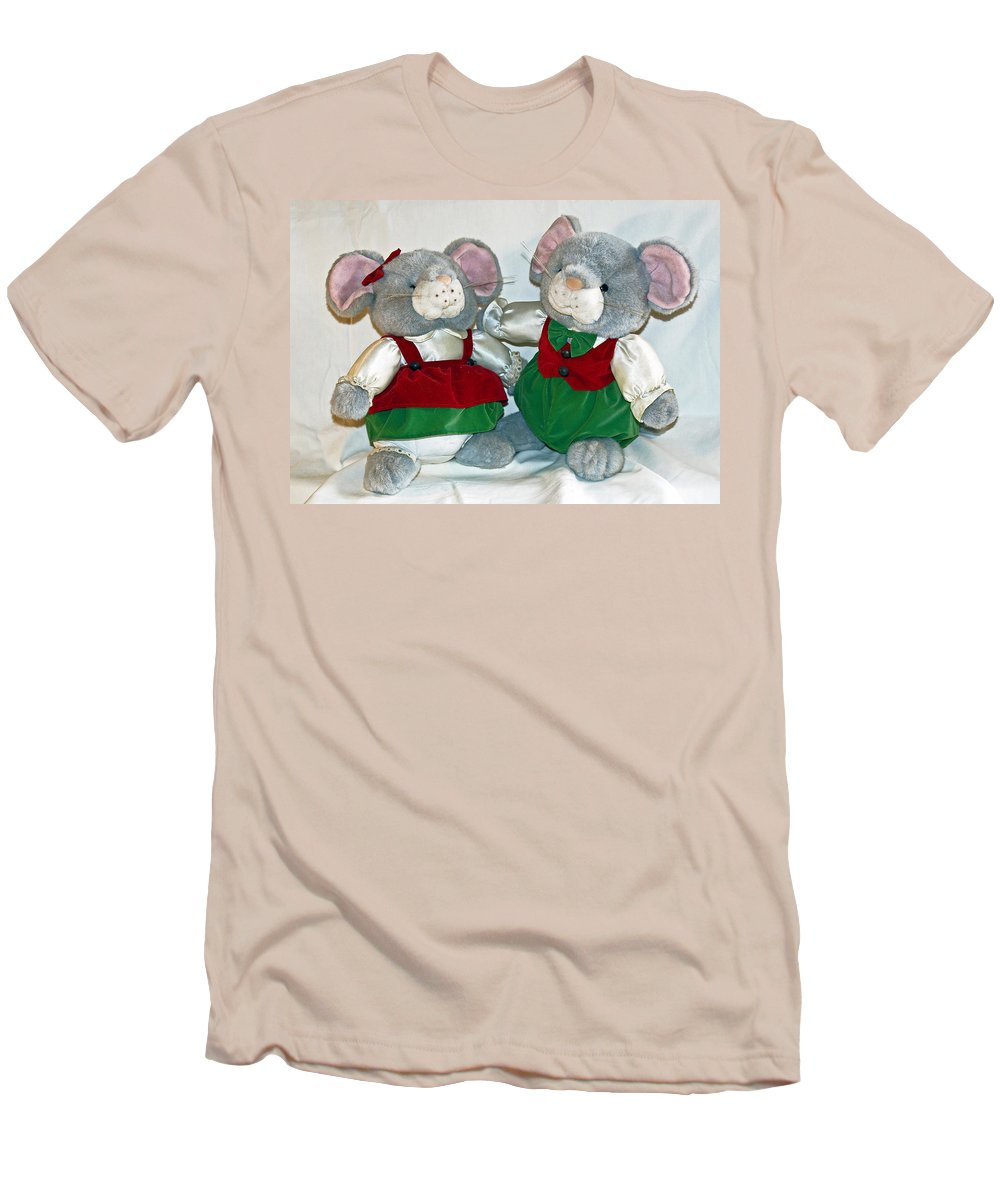 Mouse; Mice; Christmas; Rodent; Bear; Bare; Love; Lovers; Baby; Young; Boy; Girl; Affection; Animal; Men's T-Shirt (Athletic Fit) featuring the photograph Mouse Love by Allan Hughes