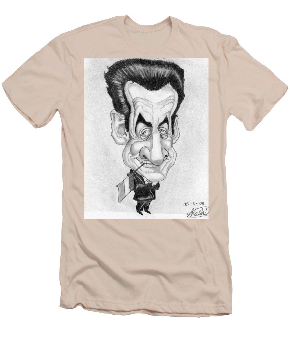 Mr Nicolas Sarkozi Men's T-Shirt (Athletic Fit) featuring the drawing Mr Nicolas Sarkozi Caricatur Portrait by Alban Dizdari