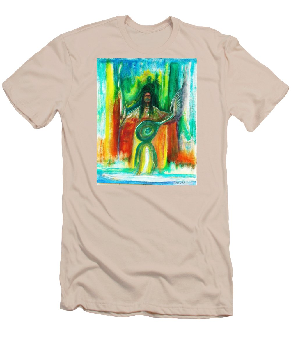 Native American Men's T-Shirt (Athletic Fit) featuring the painting Native Awakenings by Kicking Bear Productions