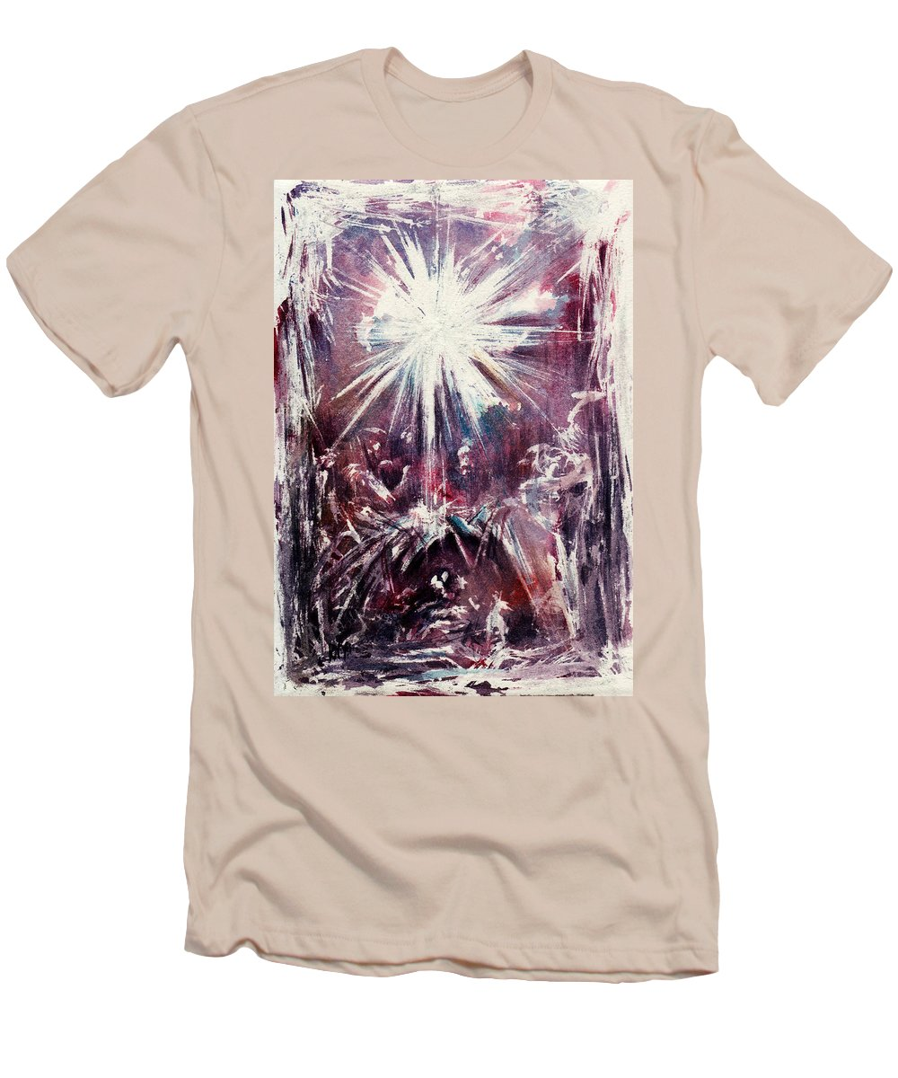 Nativity Men's T-Shirt (Athletic Fit) featuring the painting Nativity 1 by Rachel Christine Nowicki